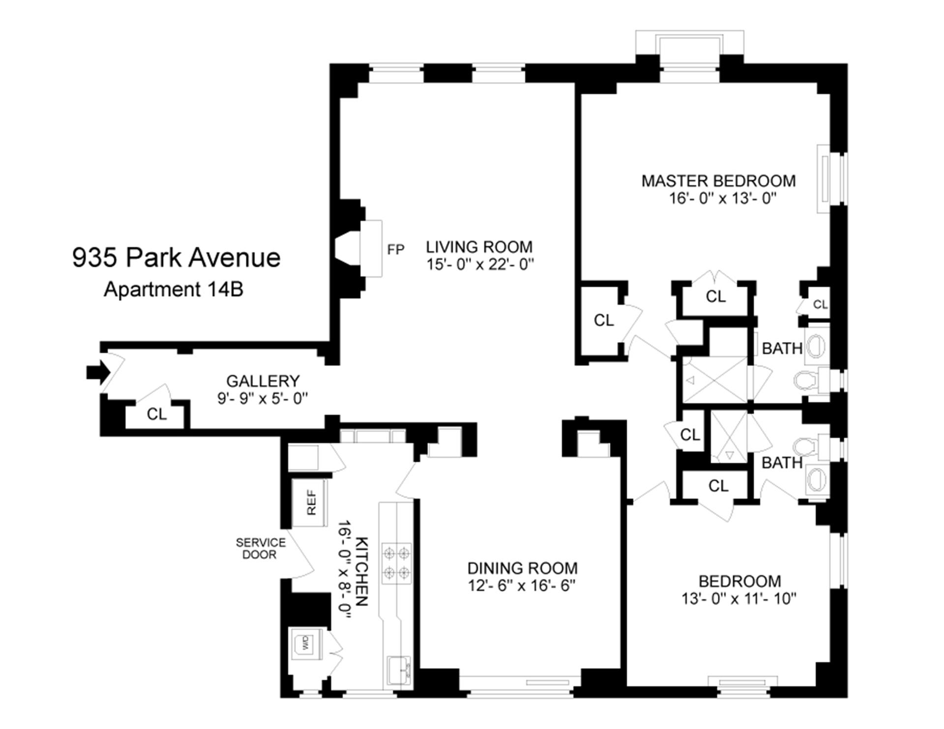 Floor plan of 935 Park Avenue, 14B - Upper East Side, New York
