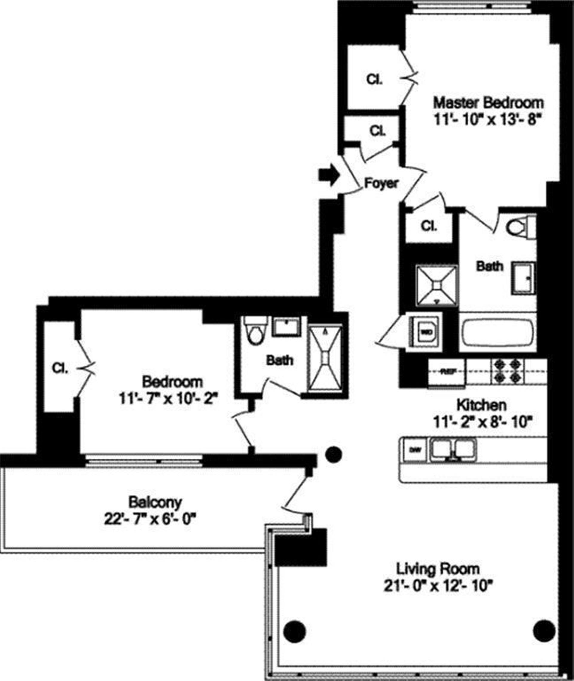 Floor plan of SLATE CONDOMINIUM, 163 West 18th St, 10B - Chelsea, New York