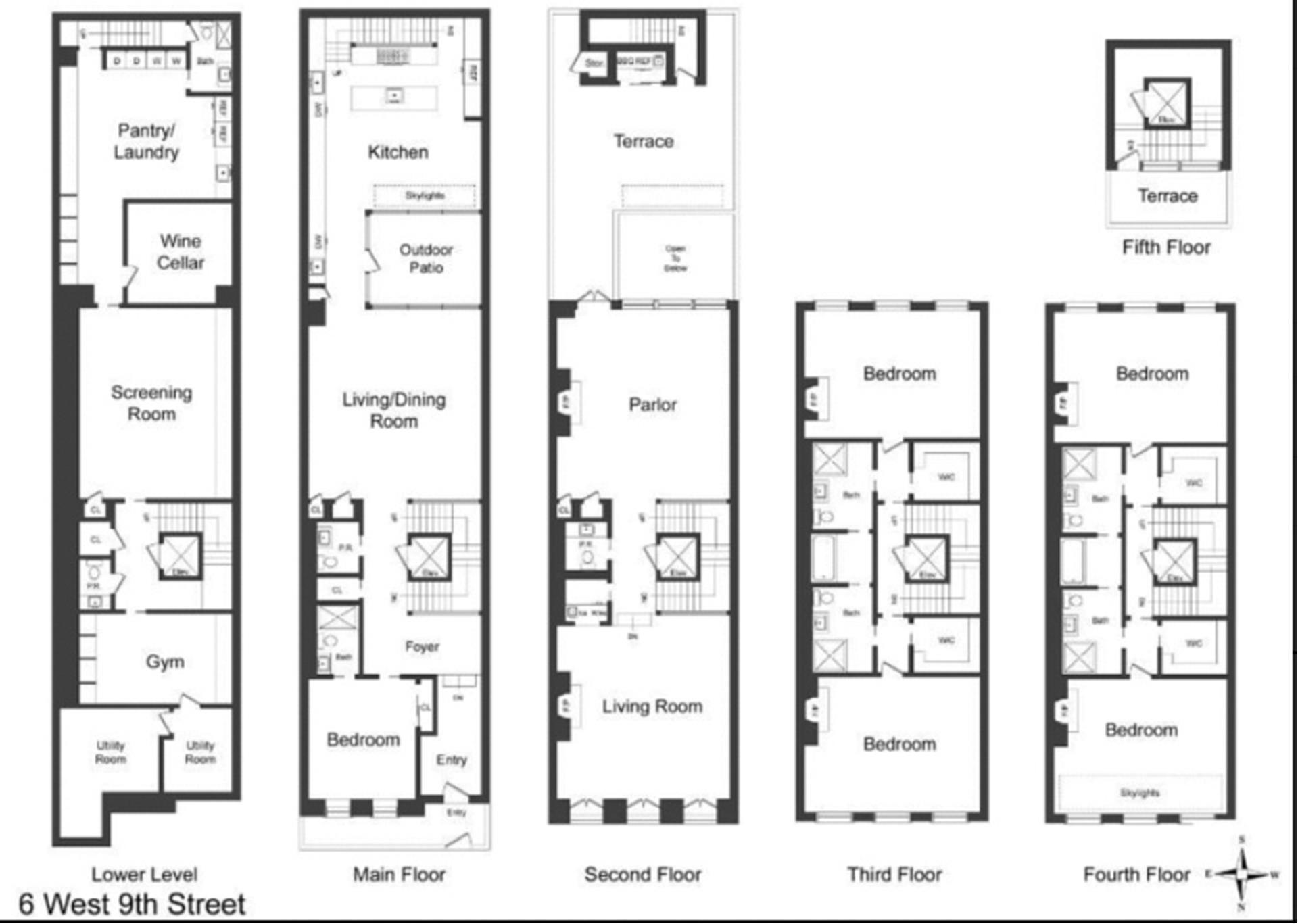 Floor plan of 6 West 9th St - Greenwich Village, New York