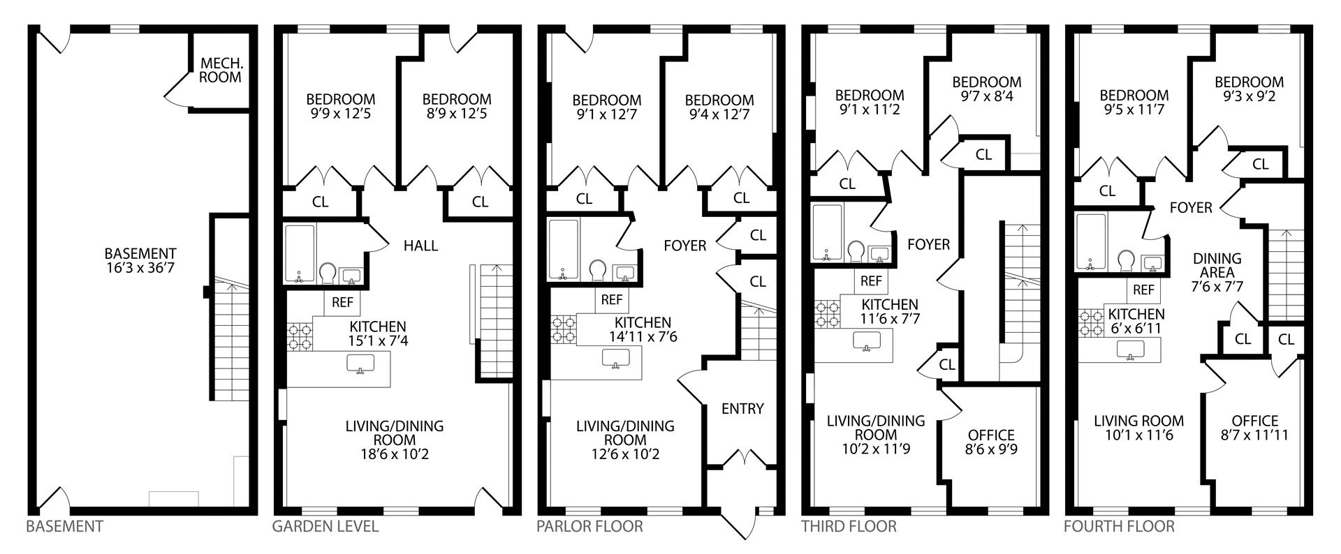 Floor plan of 829 Putnam Avenue - Bedford - Stuyvesant, New York