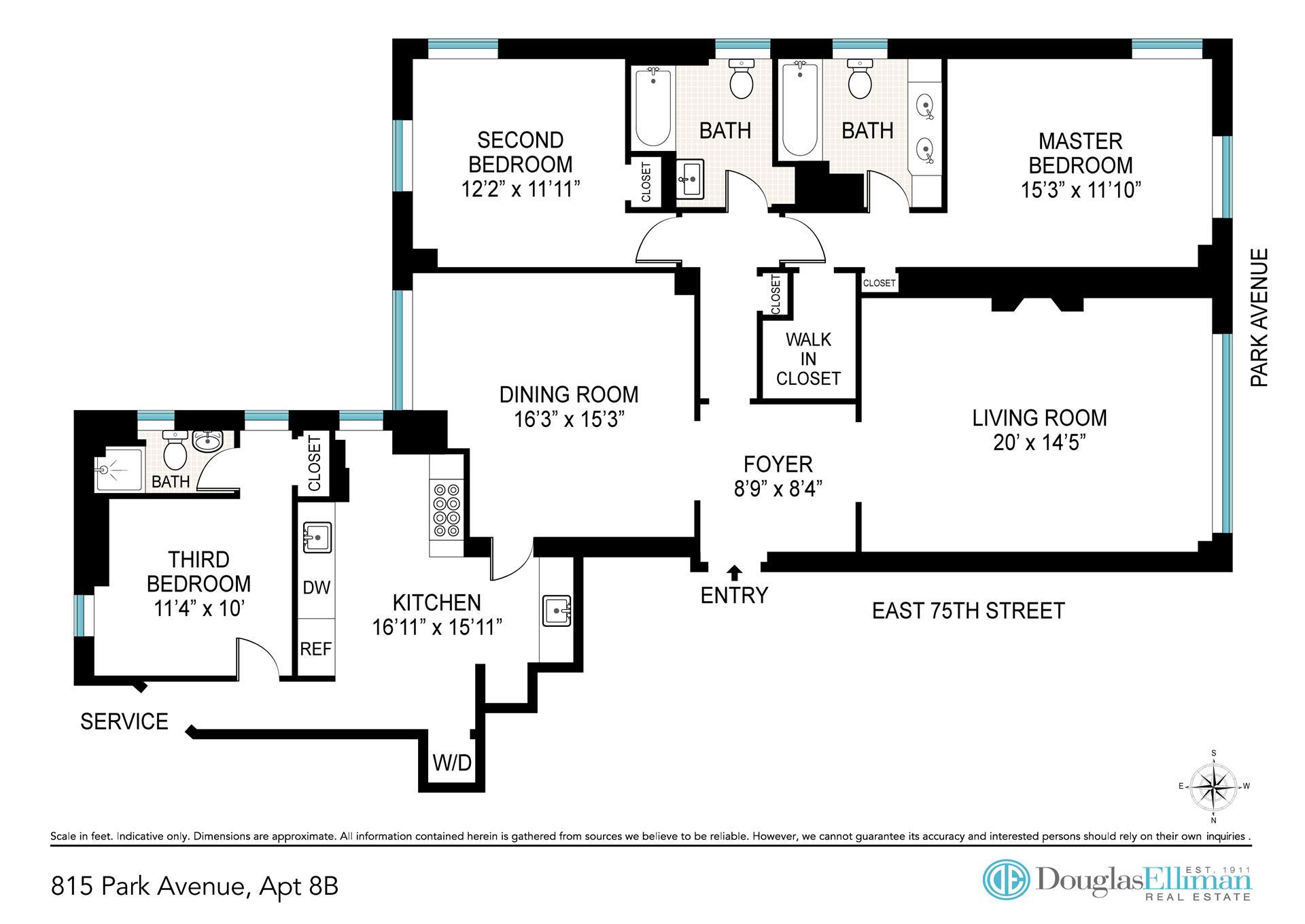 Floor plan of 815 Park Avenue, 8B - Upper East Side, New York