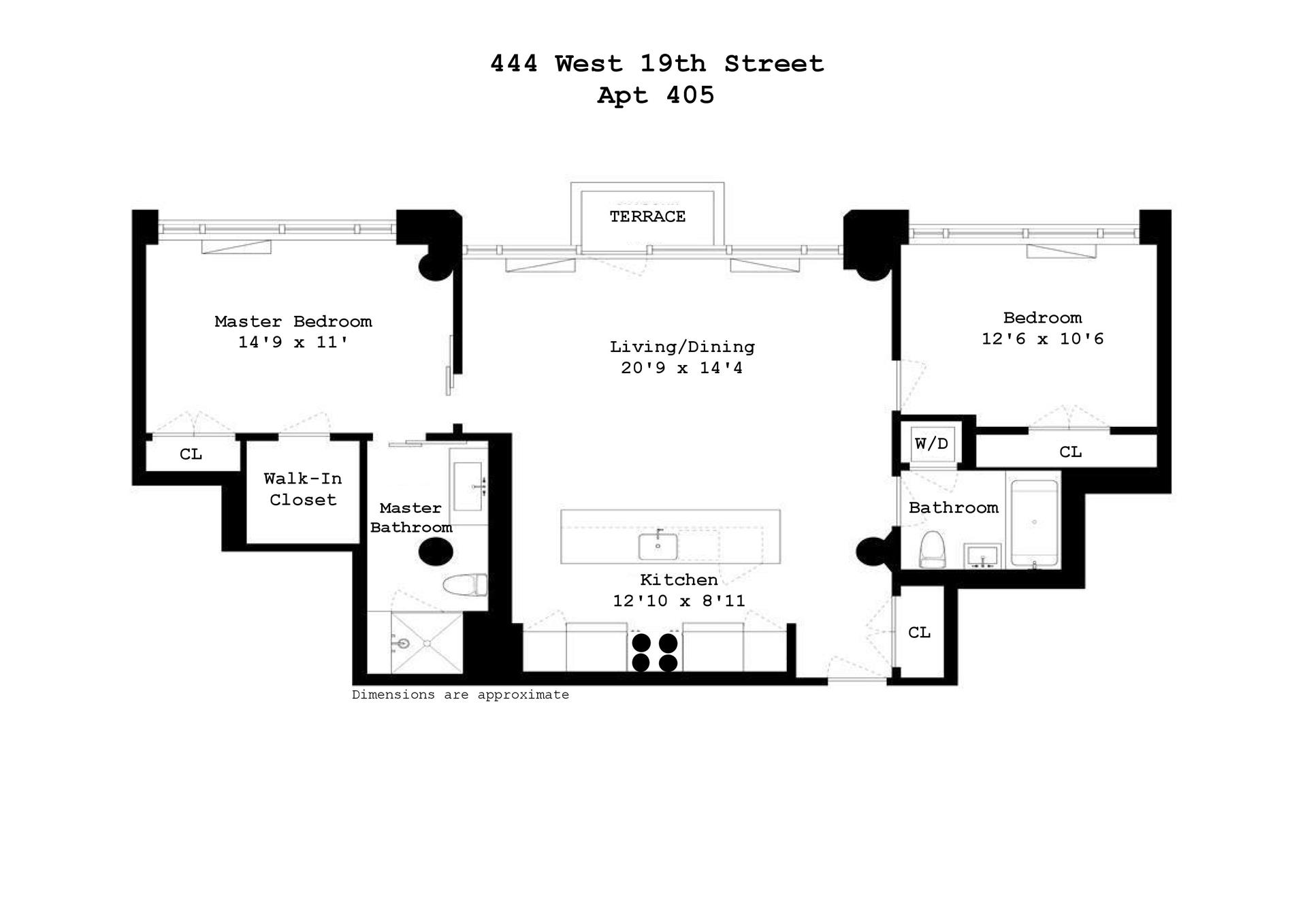 Floor plan of 444 West 19th St, 405 - Chelsea, New York