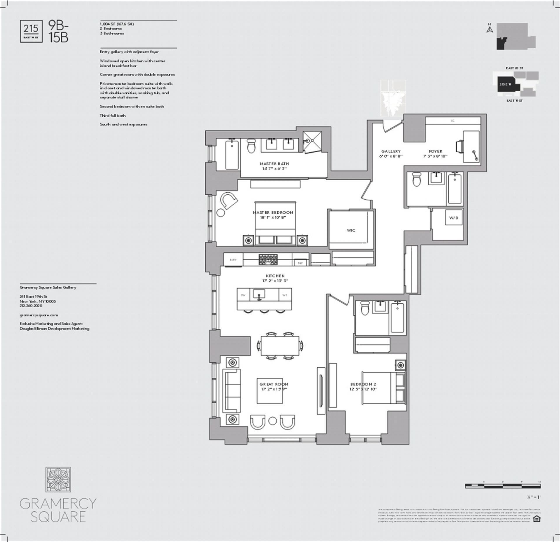 Floor plan of Gramercy Square, 215 East 19th St, 14B - Gramercy - Union Square, New York
