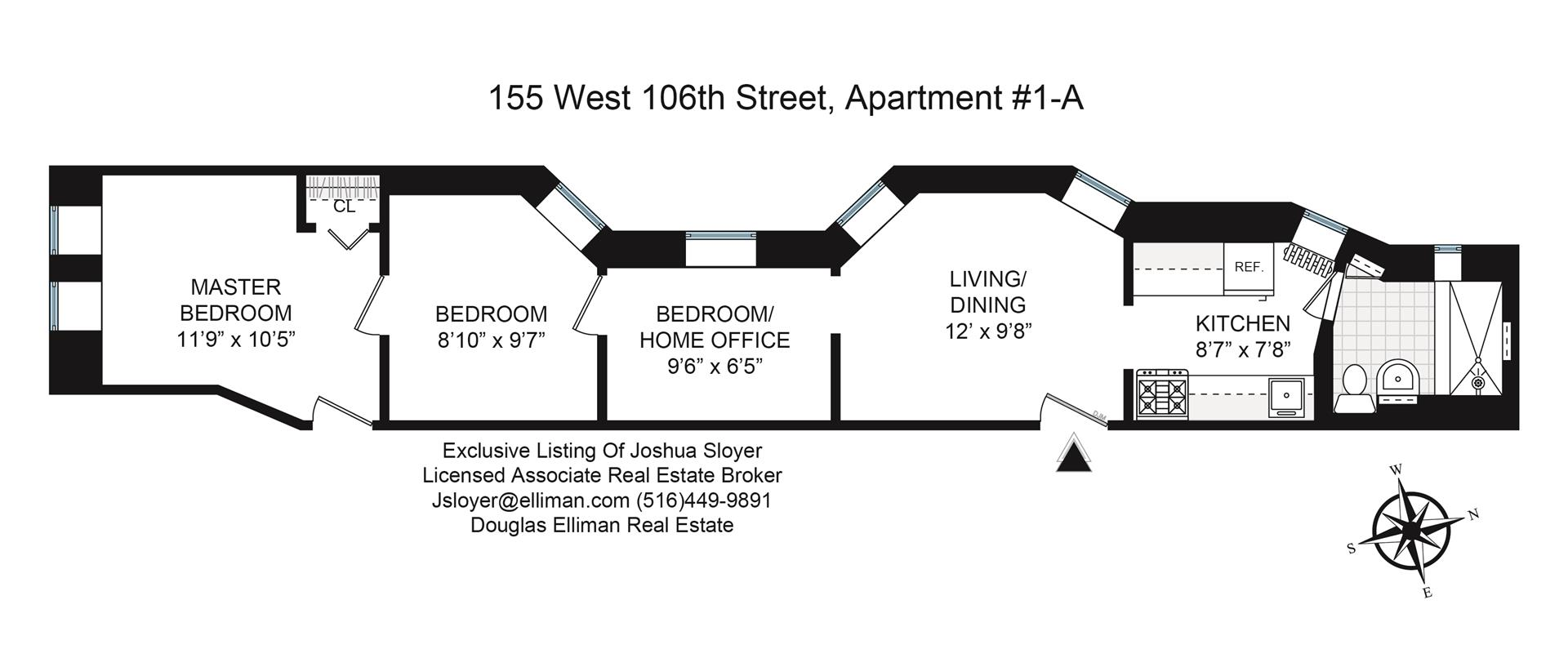 Floor plan of 155 West 106th St, 1A - Morningside Heights, New York