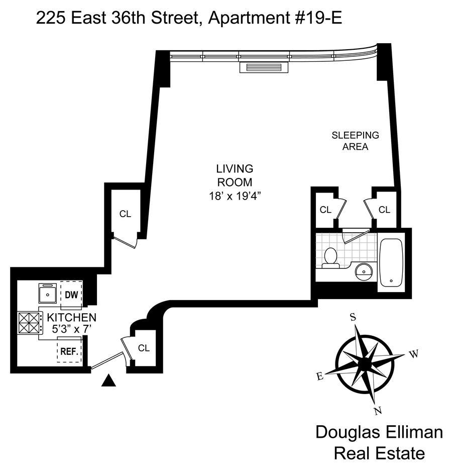 Floor plan of 225 East 36th Street, 19E - Murray Hill, New York