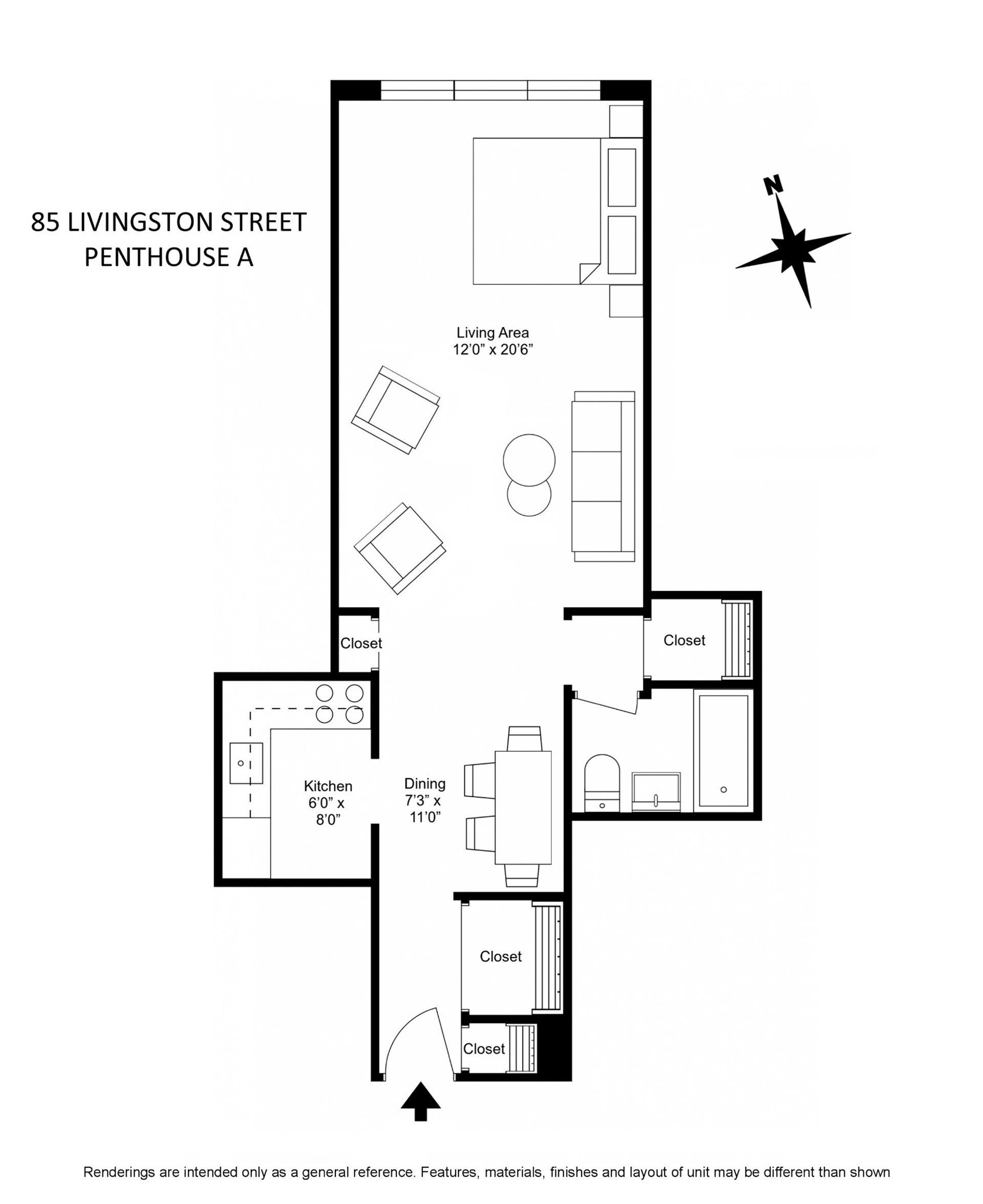 Floor plan of 85 Livingston St, PHA - Brooklyn Heights, New York