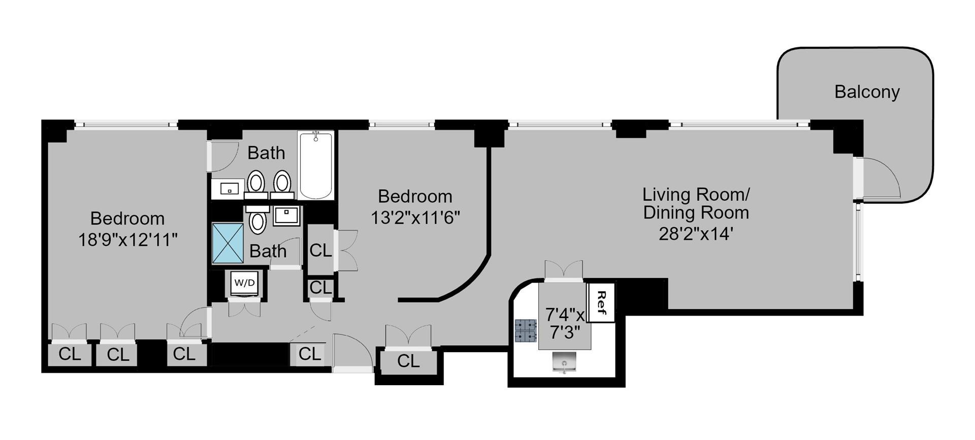 Floor plan of 309 East 49th St, 14D - Turtle Bay, New York