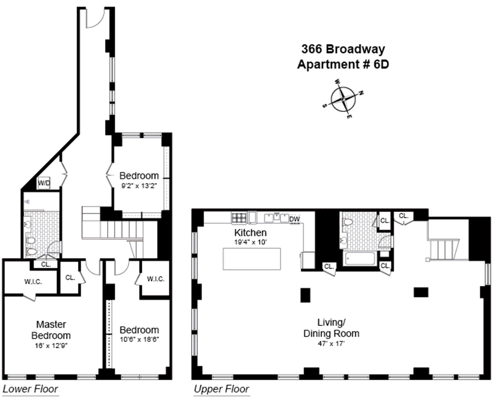 Floor plan of 366 Broadway, 6/7D - TriBeCa, New York