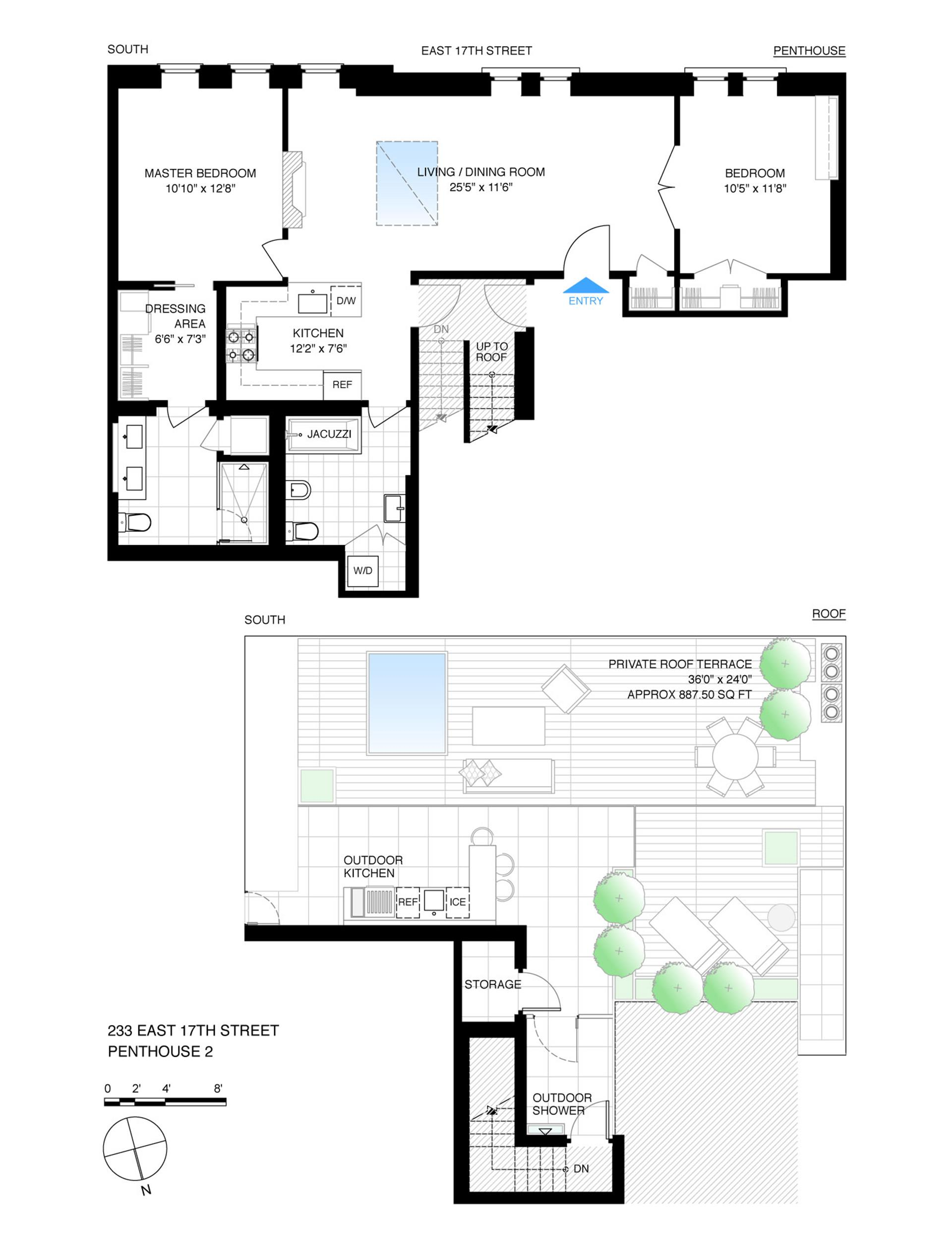 Floor plan of Landmark 17, 233 East 17th St, PH2 - Gramercy - Union Square, New York