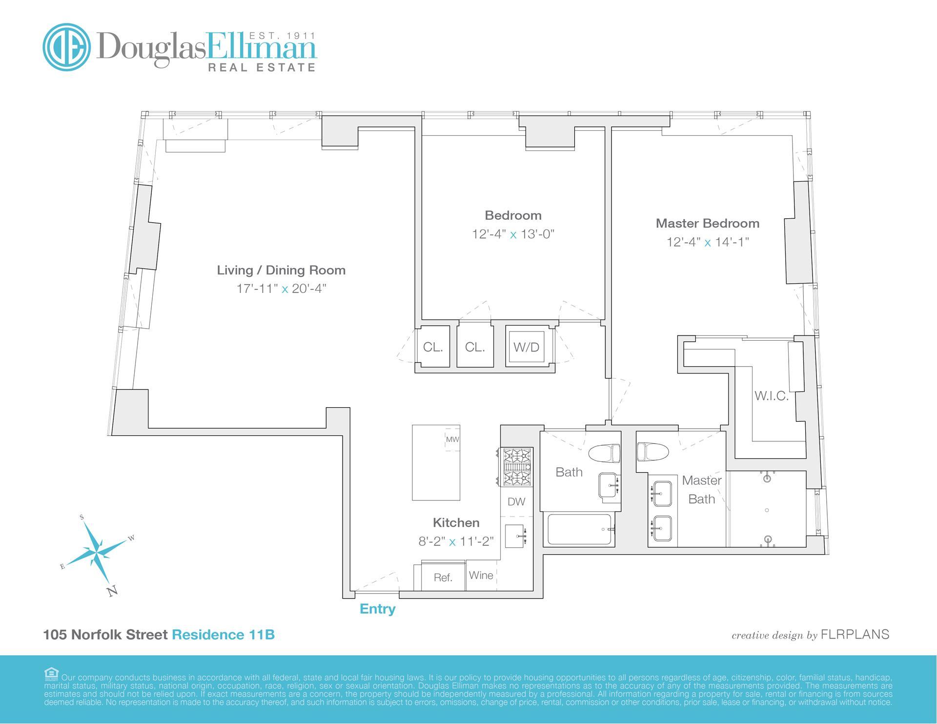 Floor plan of Blue, 105 Norfolk St, 11D - Lower East Side, New York
