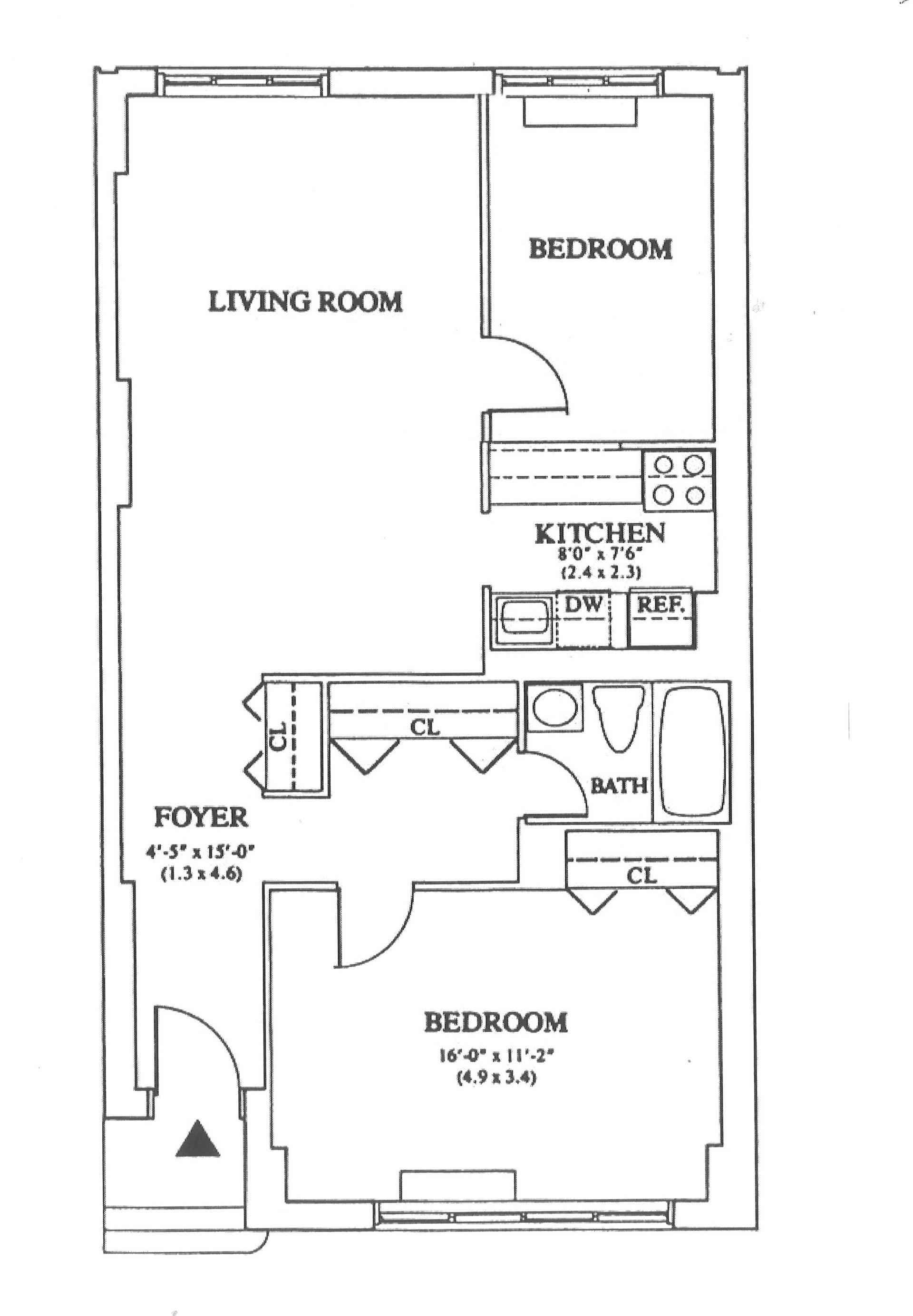 Floor plan of HUDSON TOWER, 350 Albany St, 4P - Battery Park City, New York