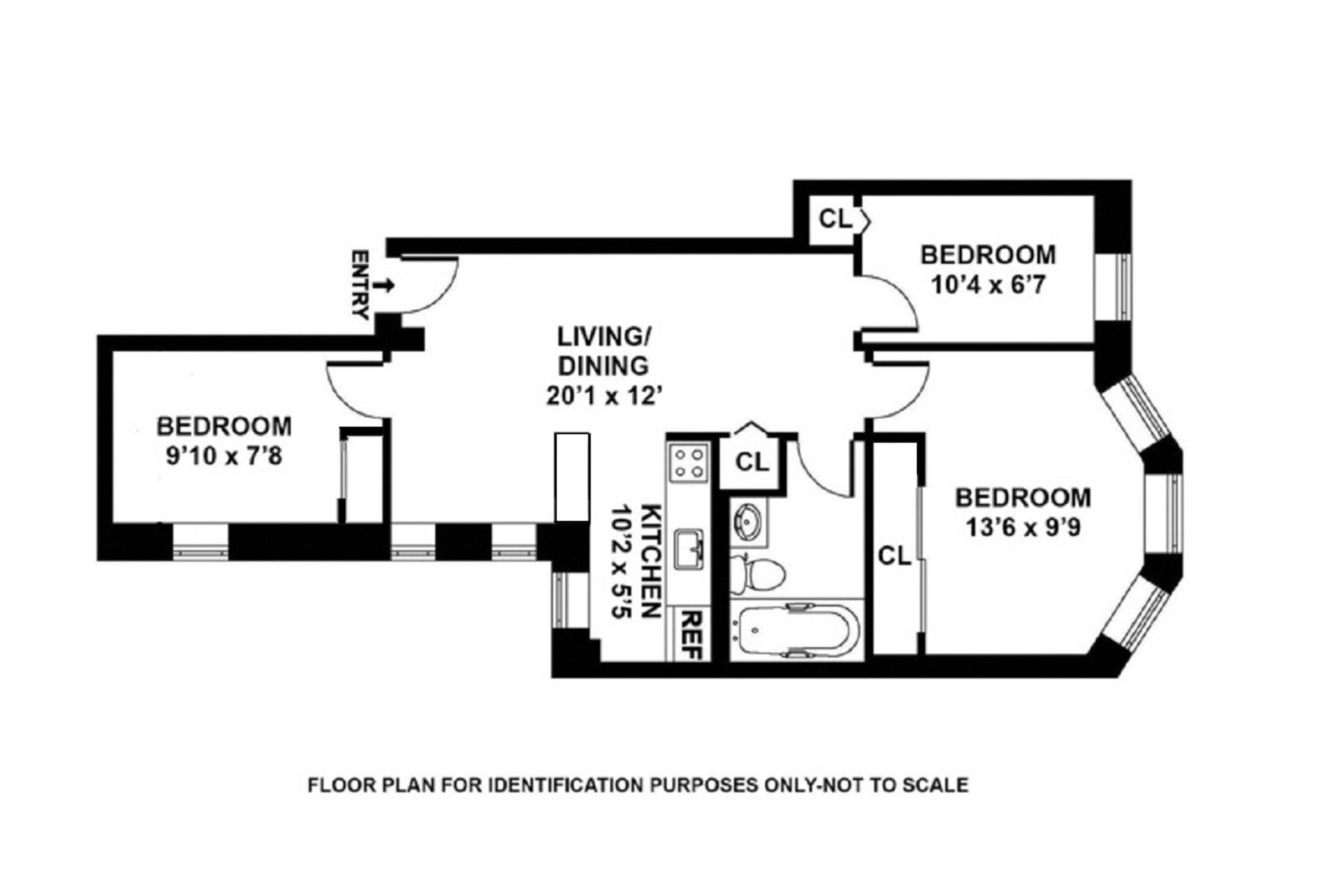 Floor plan of 1062 Bergen St, 2B - Crown Heights, New York