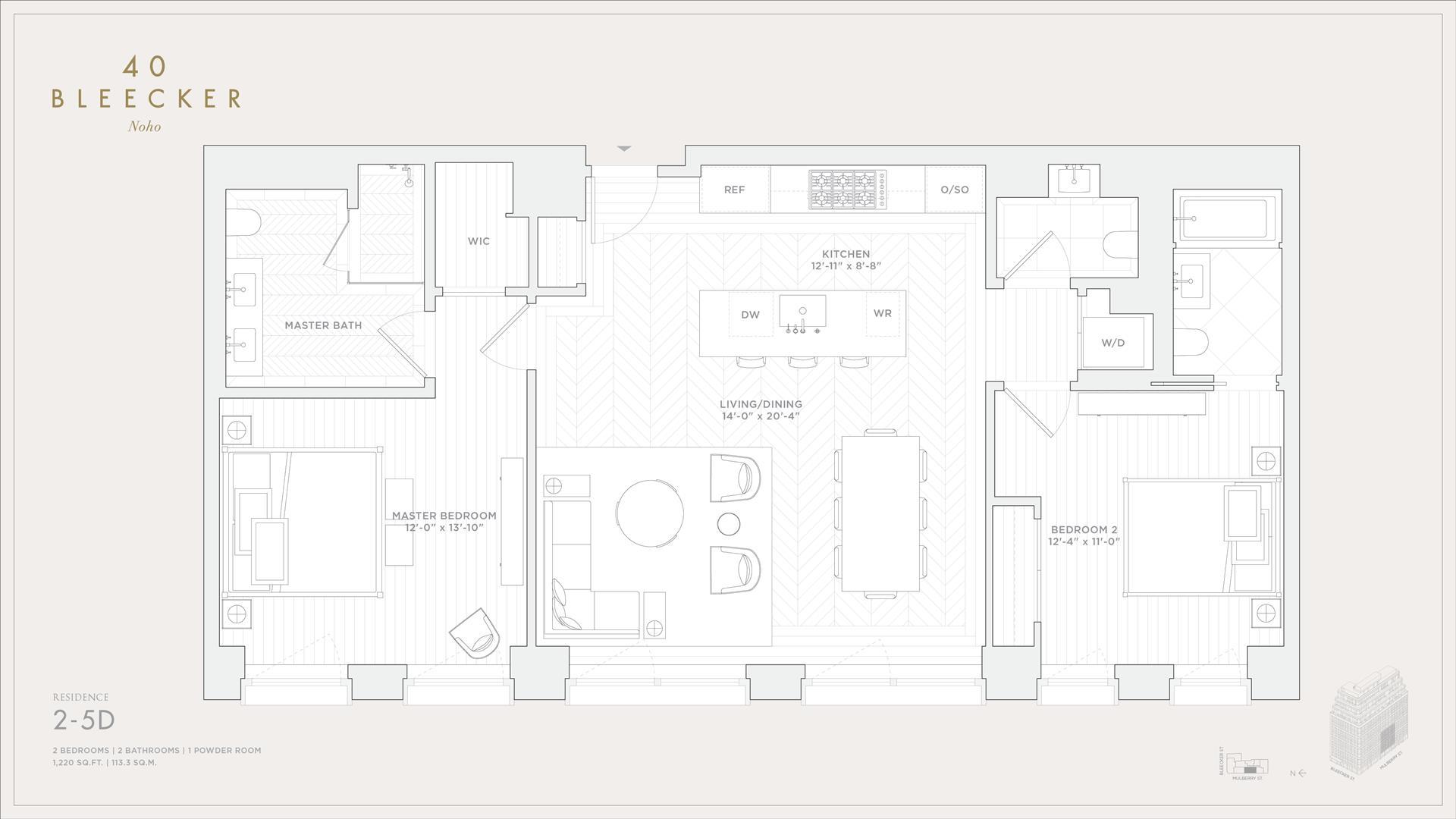 Floor plan of 40 Bleecker Street, 3D - NoHo, New York