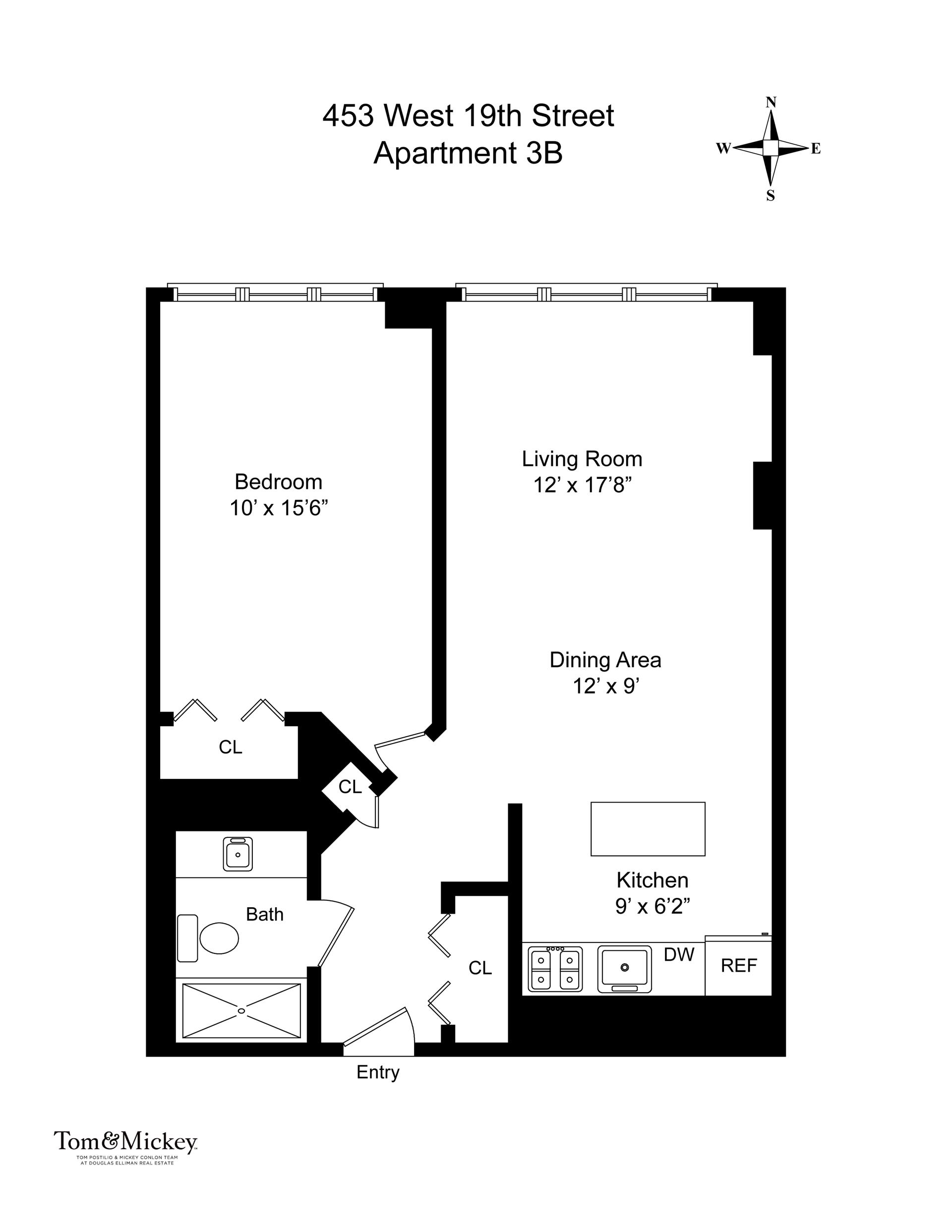 Floor plan of Lloyd 19, 453 West 19th St, 3B - Chelsea, New York