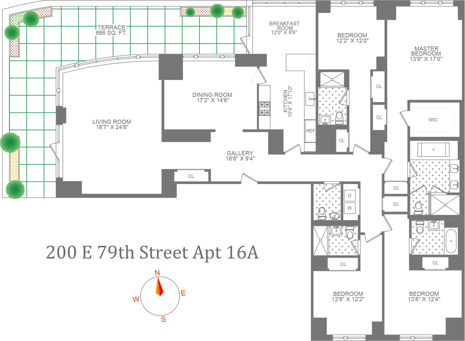 Floor plan of 200 East 79th St, 16A - Upper East Side, New York