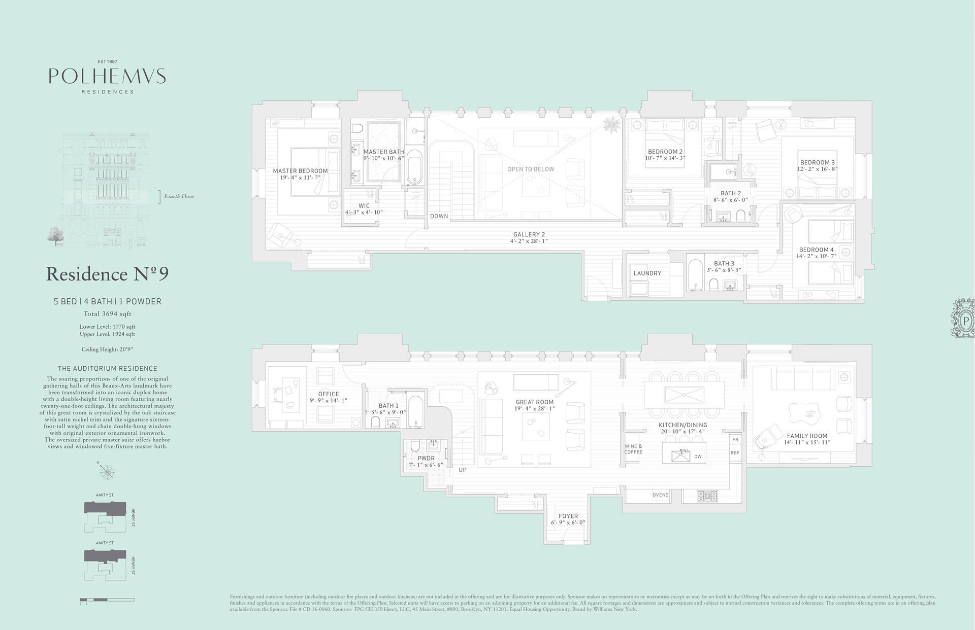 Floor plan of Polhemus, 100 Amity Street, RESIDENCE9 - Cobble Hill, New York