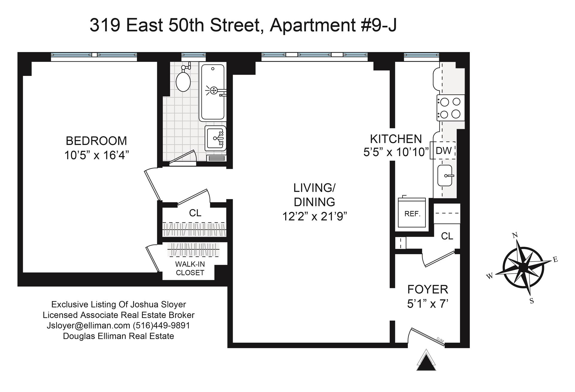Floor plan of Beekman Hill Apts, 319 East 50th St, 9J - Turtle Bay, New York