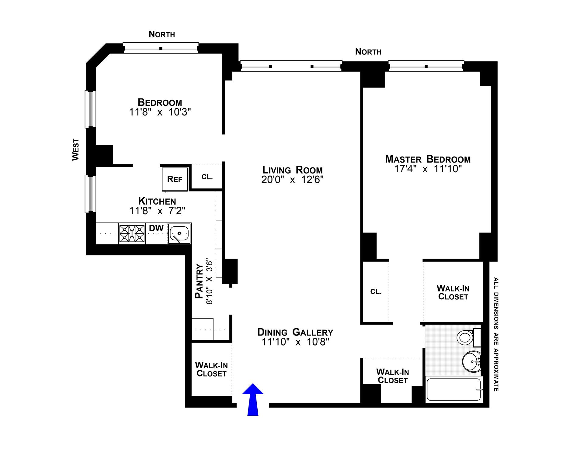 Floor plan of EAST RIVER HOUSE, 505 East 79th St, 2C - Upper East Side, New York