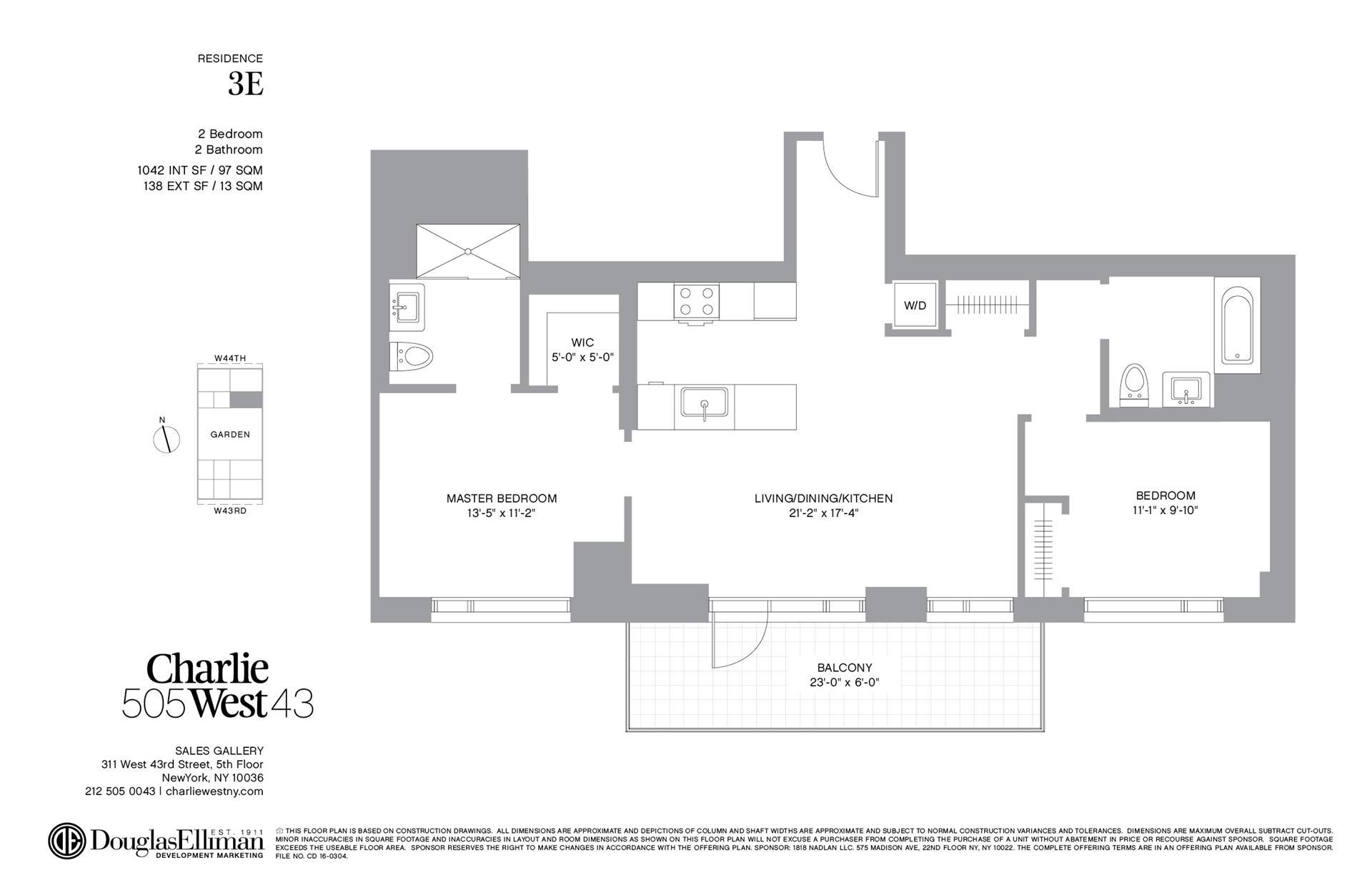 Floor plan of 505 West 43rd St, 3E - Clinton, New York