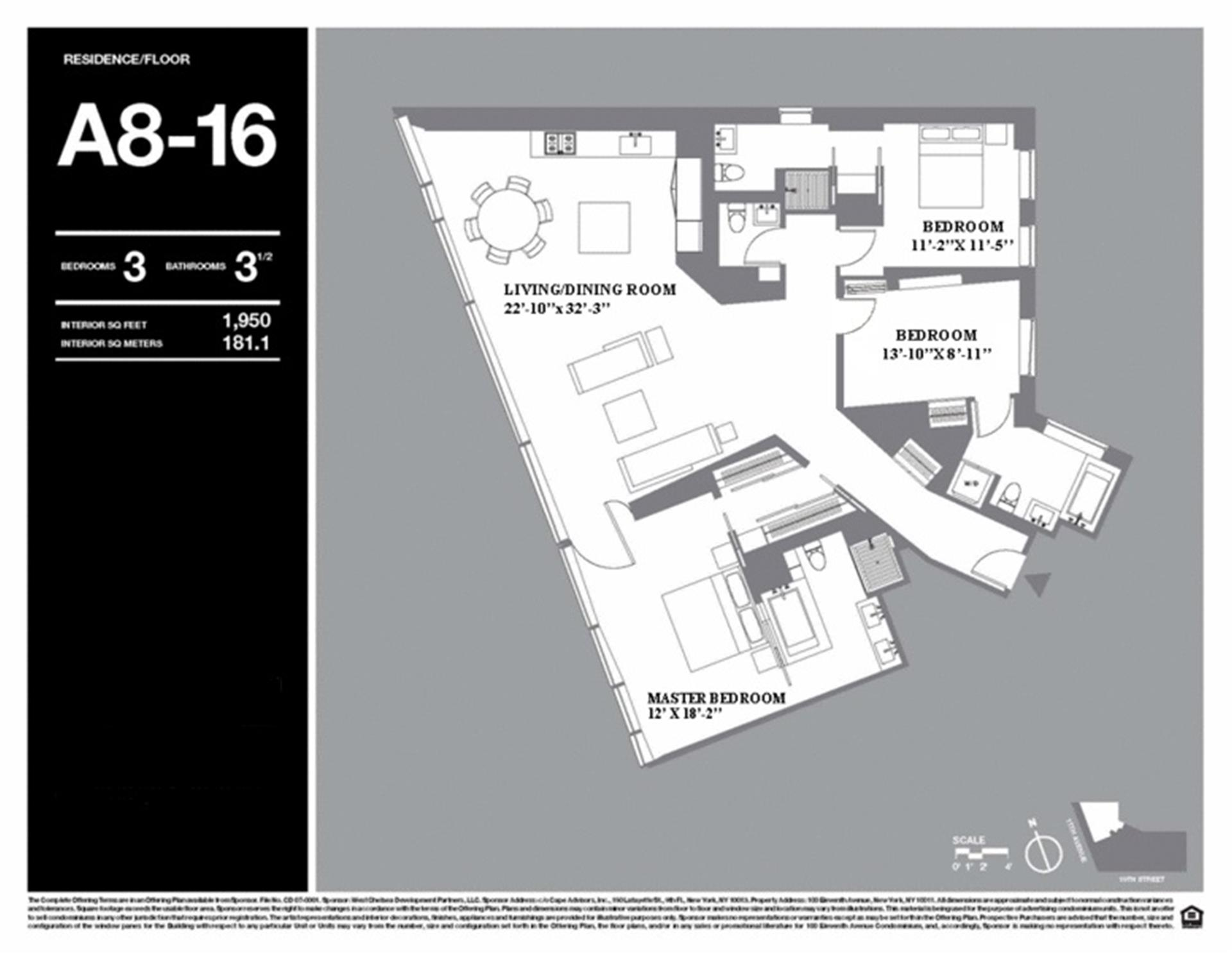 Floor plan of 100 Eleventh Avenue, 9A - Chelsea, New York