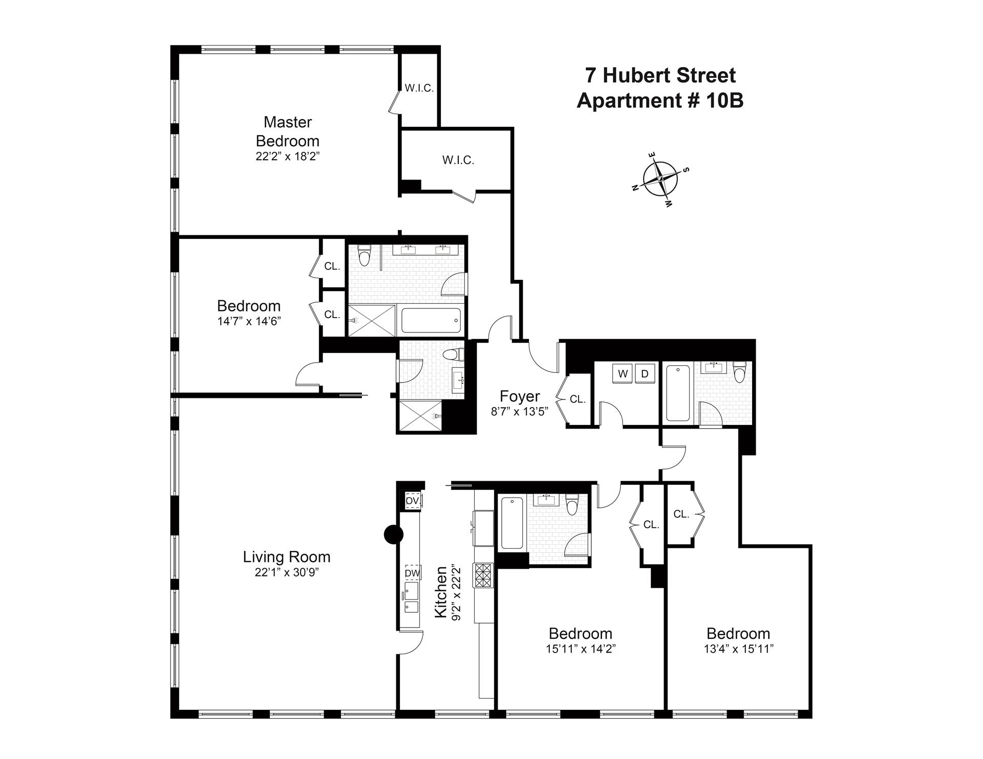Floor plan of 7 Hubert St, 10B - TriBeCa, New York