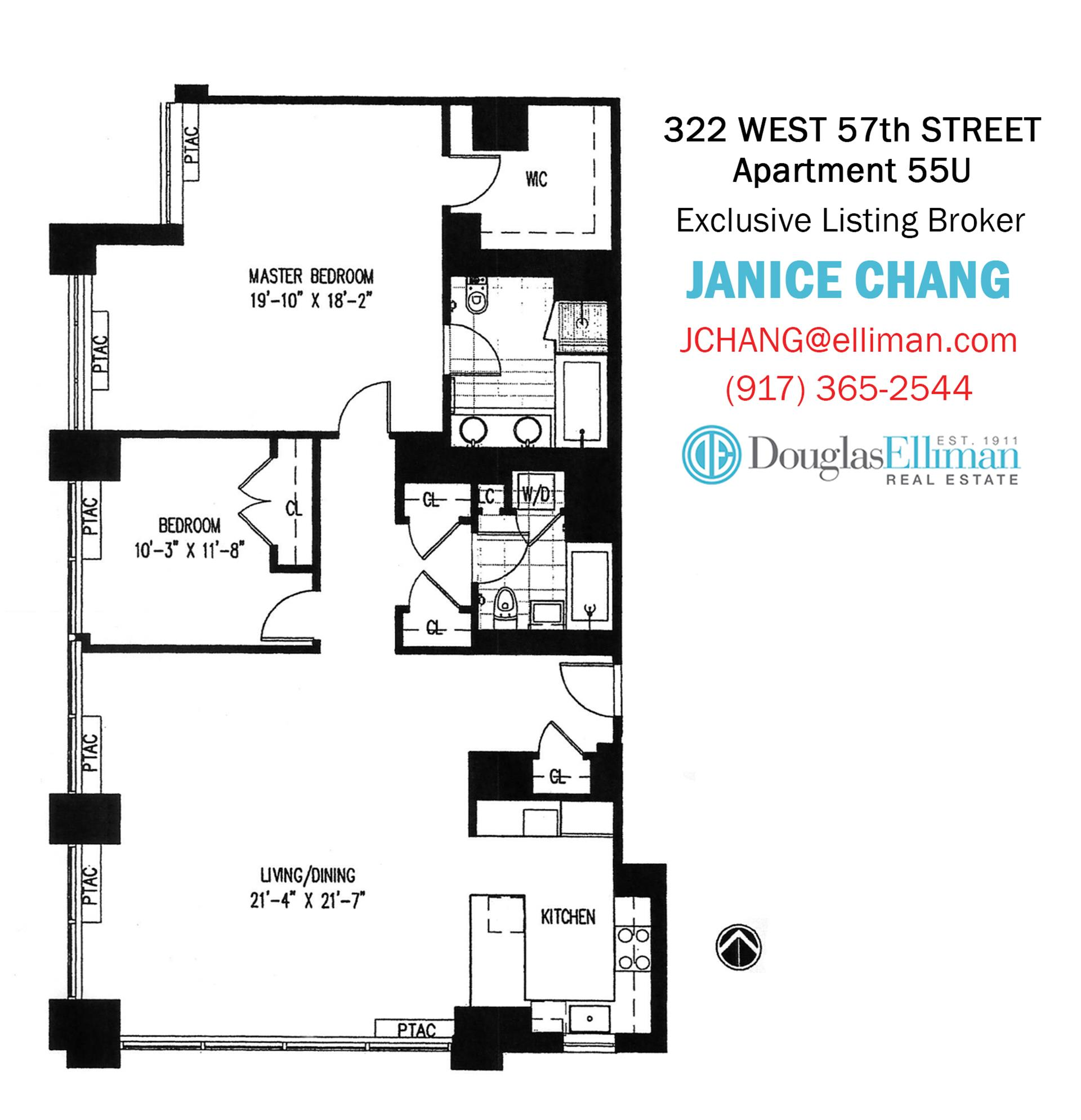 Floor plan of 322 West 57th St, 55U1 - Midtown, New York