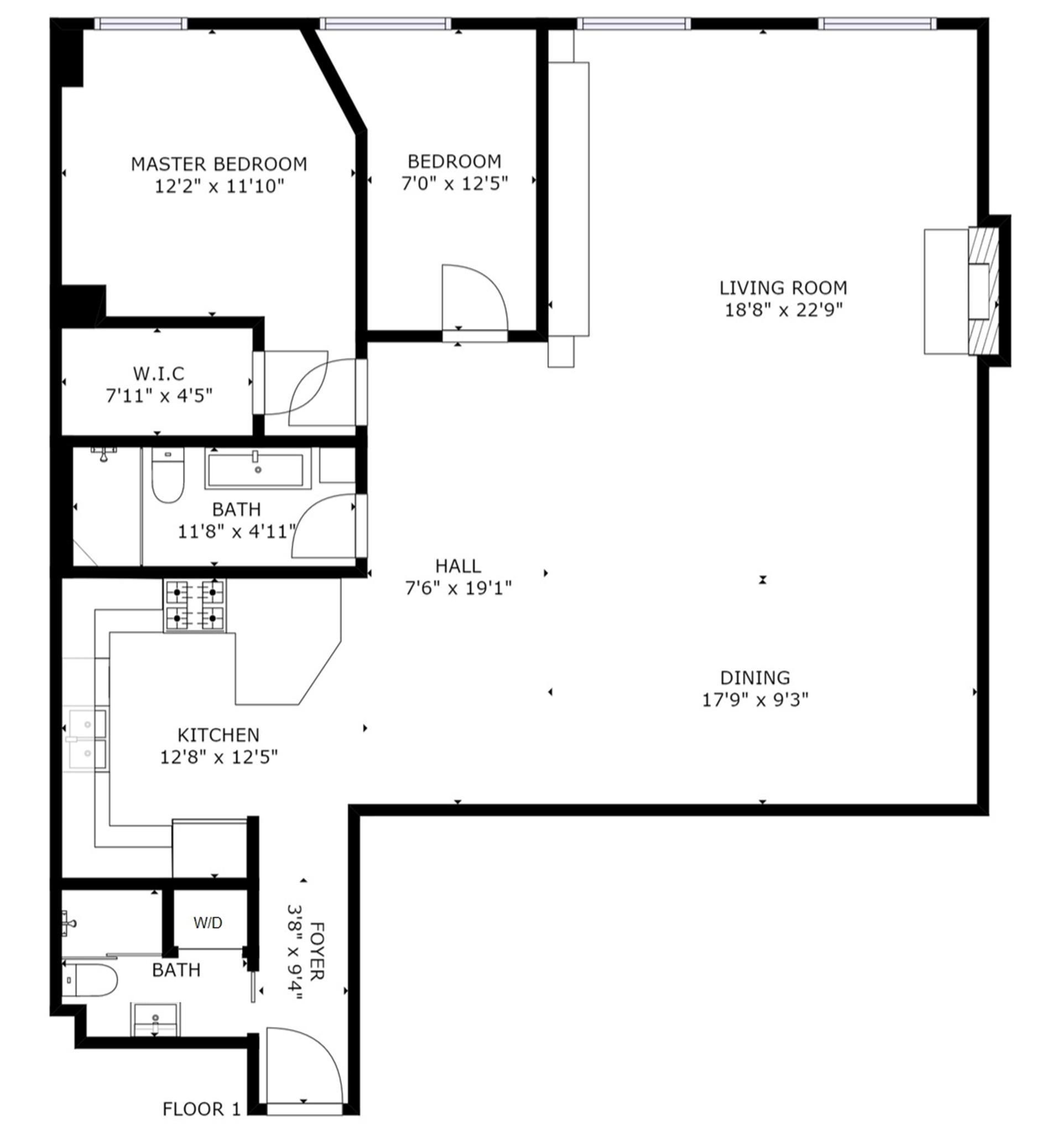 Floor plan of 542 Broadway, 5R - SoHo - Nolita, New York