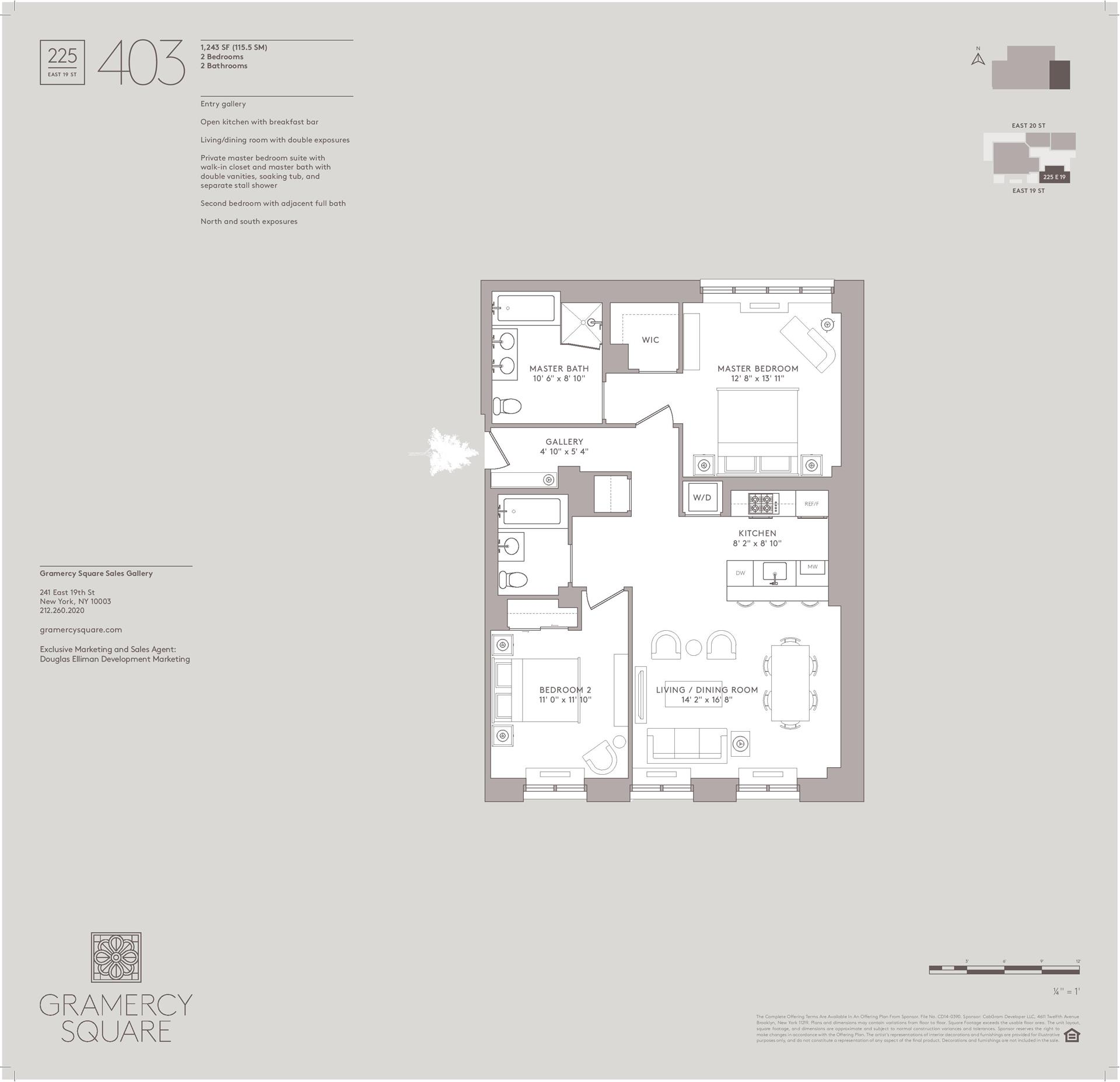 Floor plan of Gramercy Square, 225 East 19th St, 403 - Gramercy - Union Square, New York