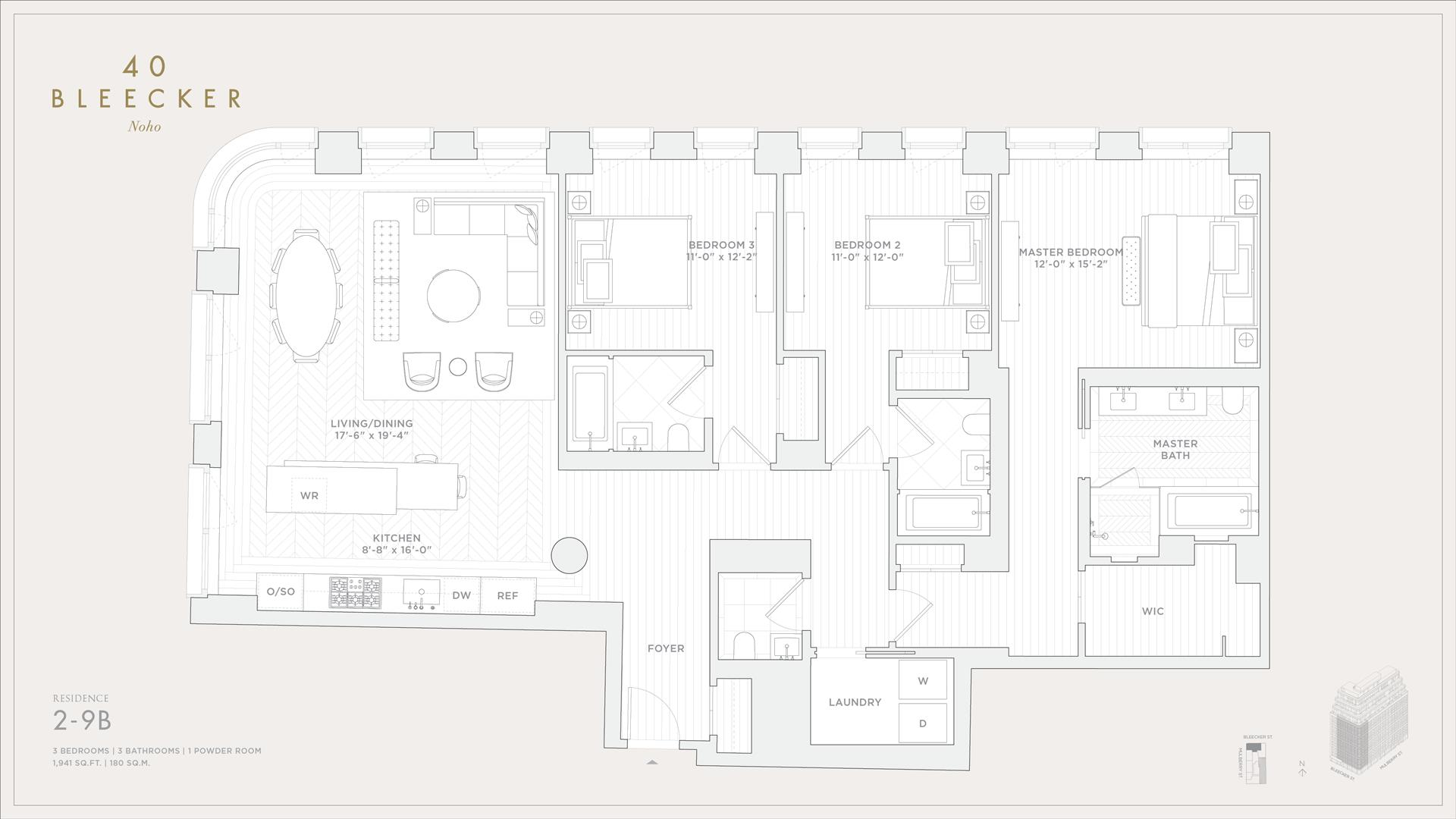 Floor plan of 40 Bleecker Street, 9B - NoHo, New York