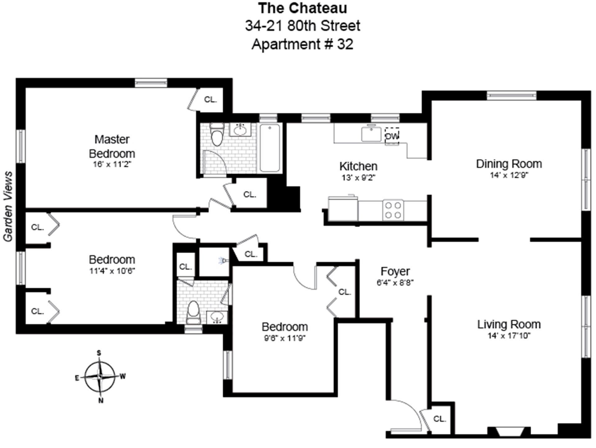 Floor plan of 34-21 80th St, 32 - Jackson Heights, New York