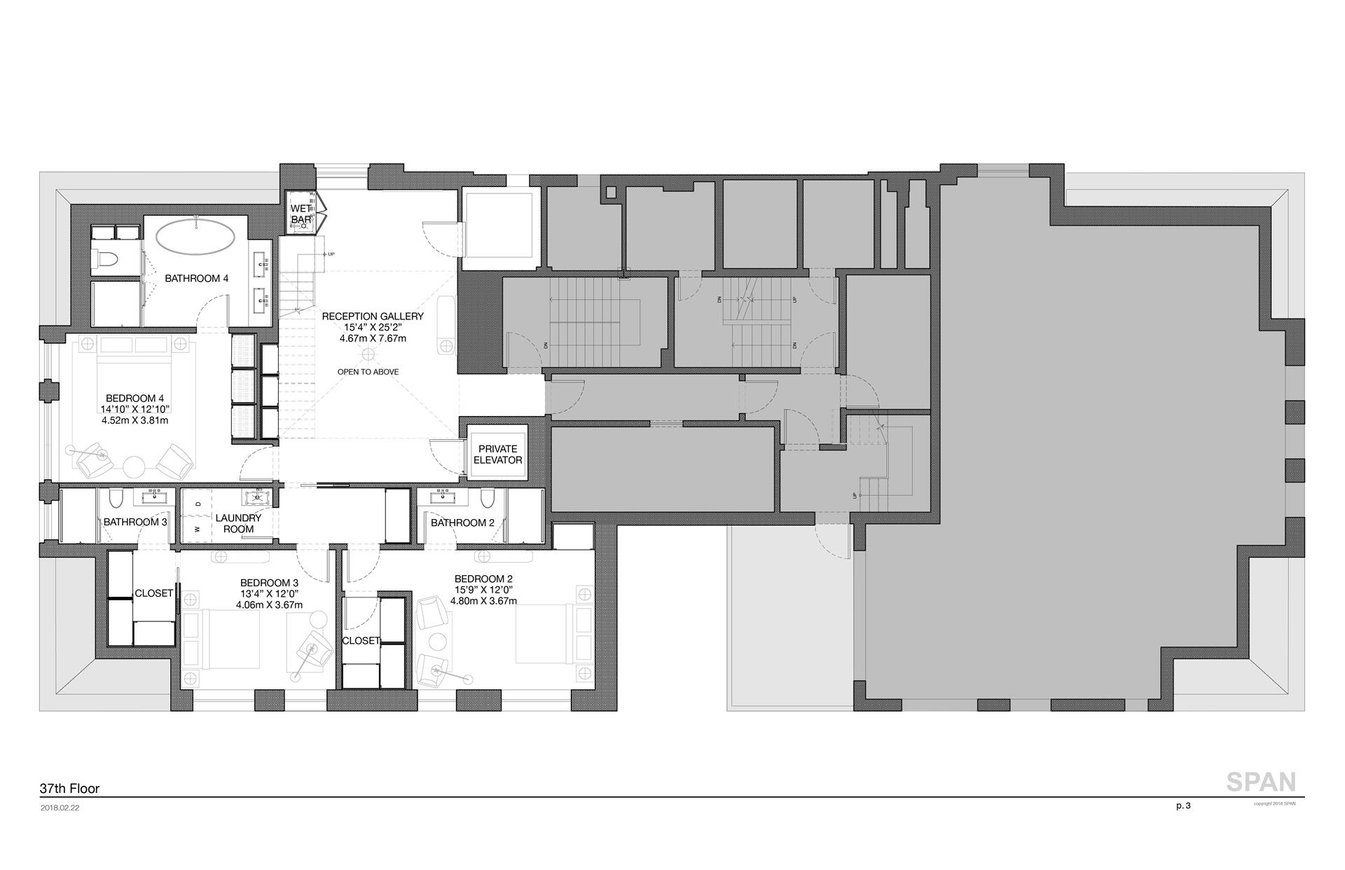 Floor plan of The Hampshire House, 150 Central Park South, PH - Central Park South, New York