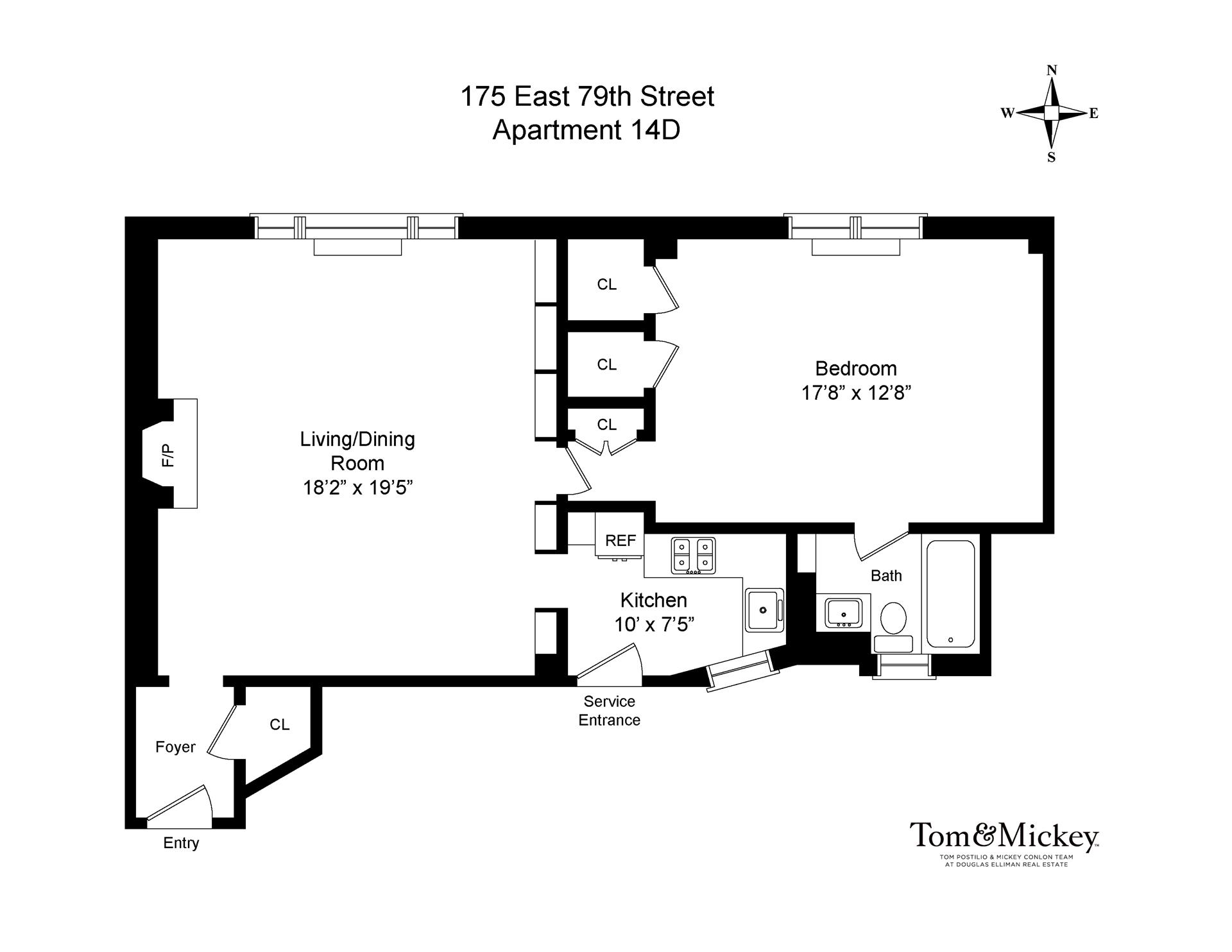 Floor plan of 175 East 79 Tenants Corp, 175 East 79th St, 14D - Upper East Side, New York