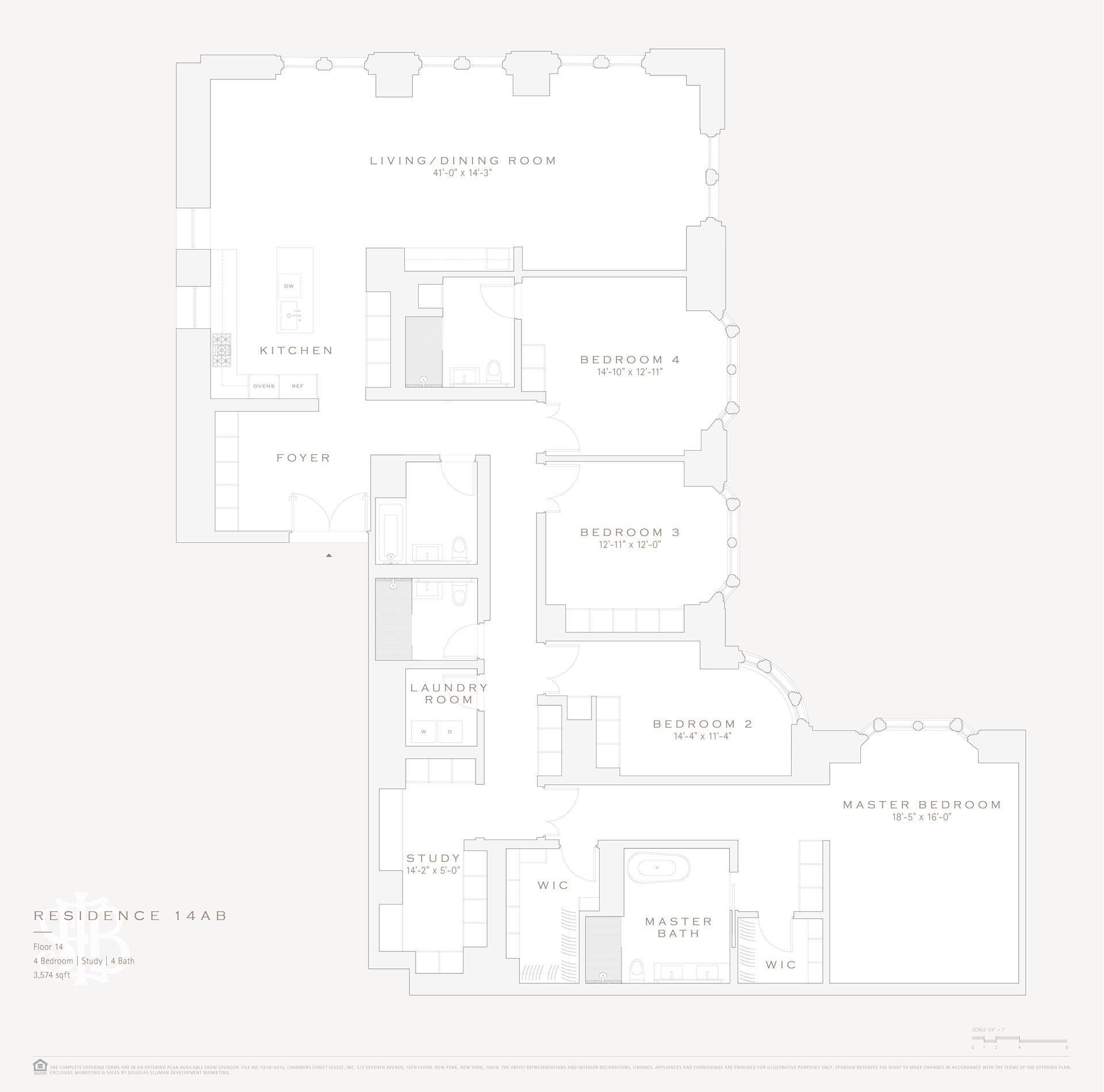 Floor plan of 49 Chambers St, 14AB - TriBeCa, New York