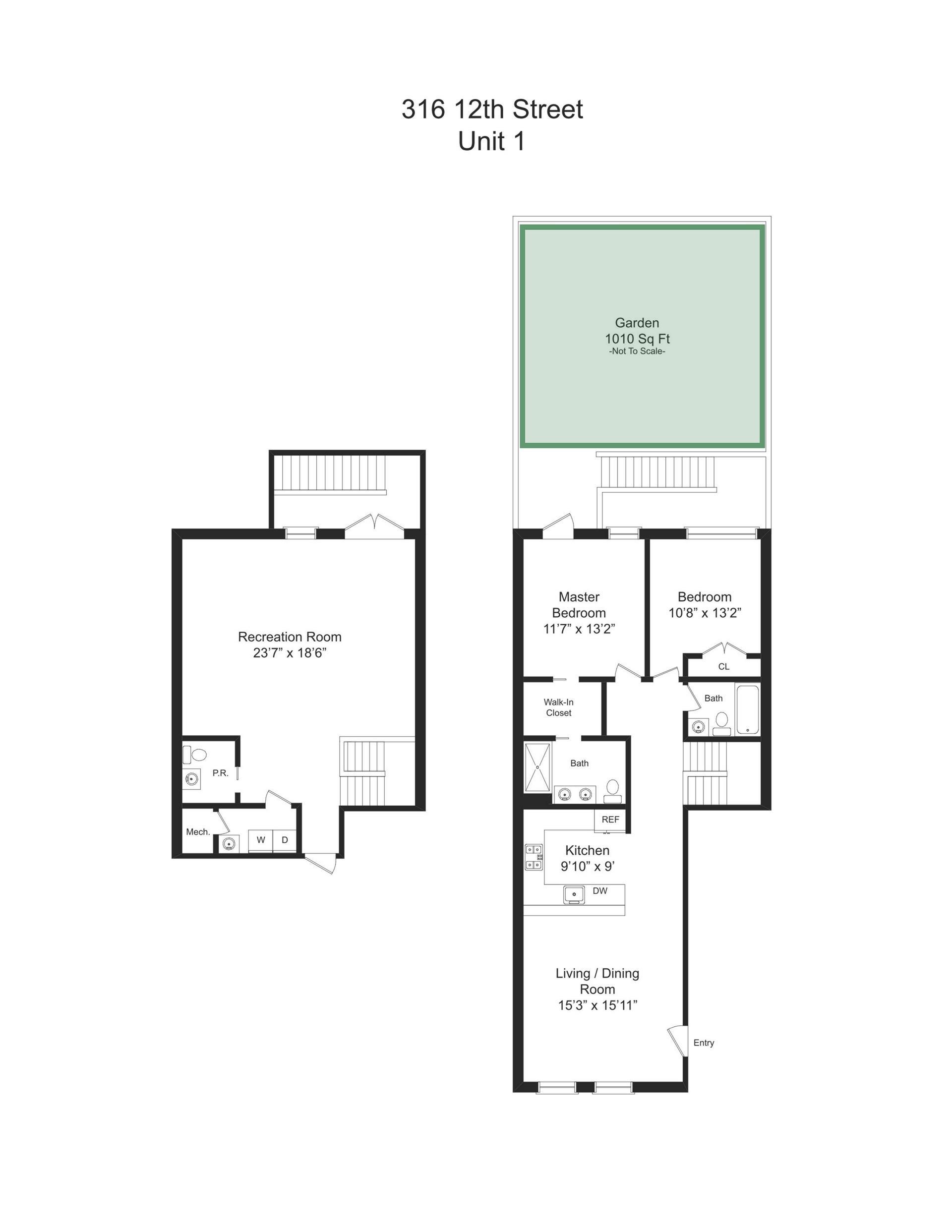 Floor plan of 316 12th St, 1 - Park Slope, New York