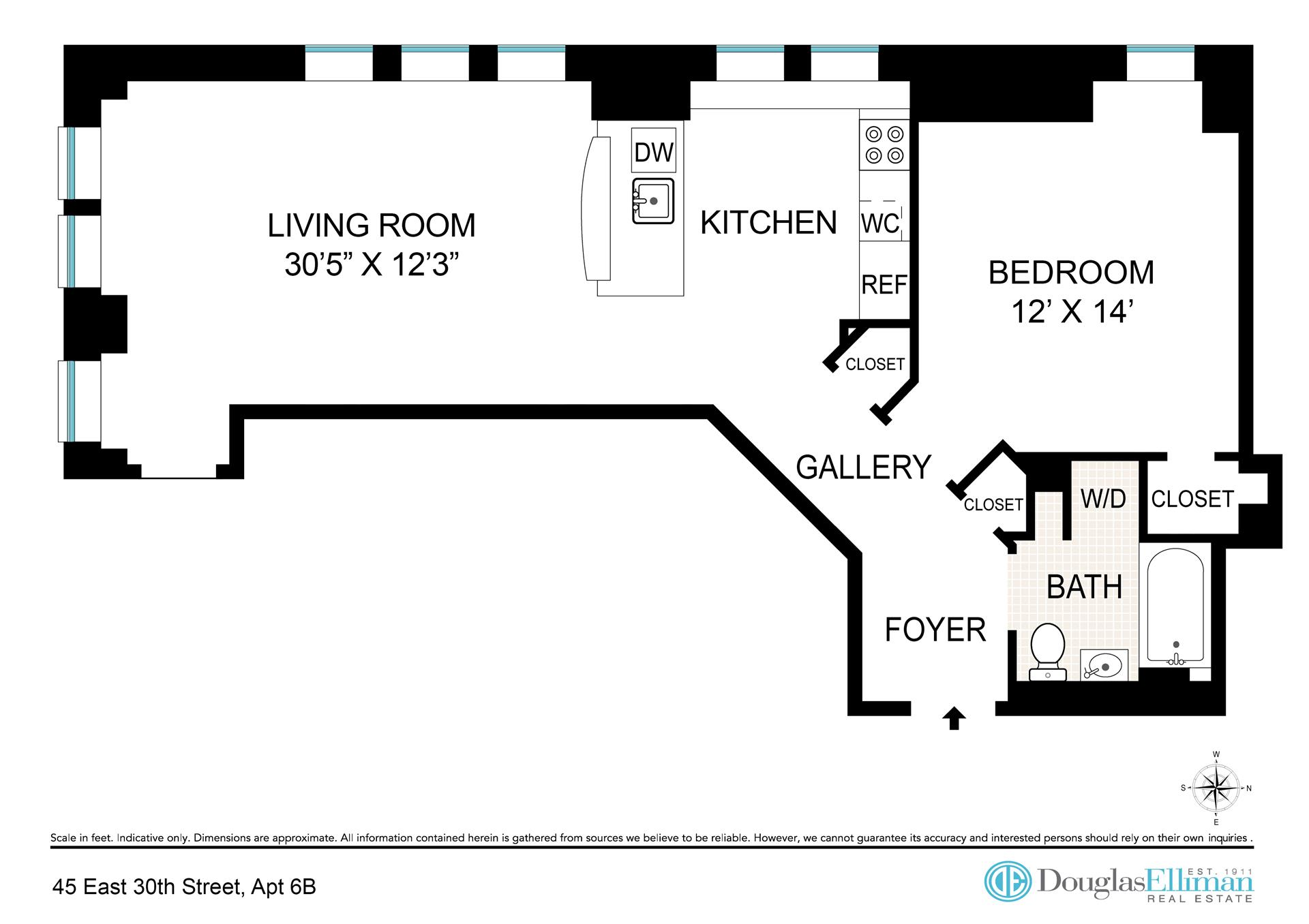 Floor plan of Park South Lofts, 45 East 30th St, 6B - Flatiron District, New York