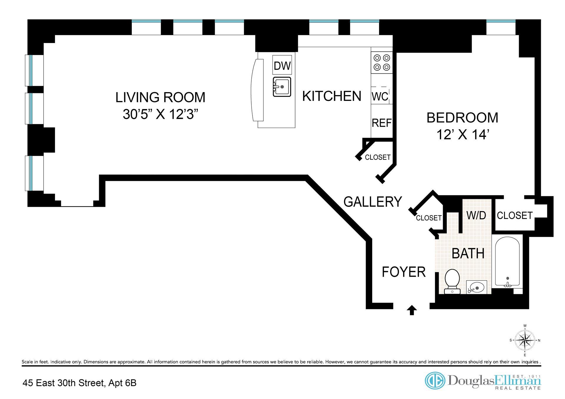Floor plan of Park South Lofts, 45 East 30th St, 6B - Flatiron District, New York