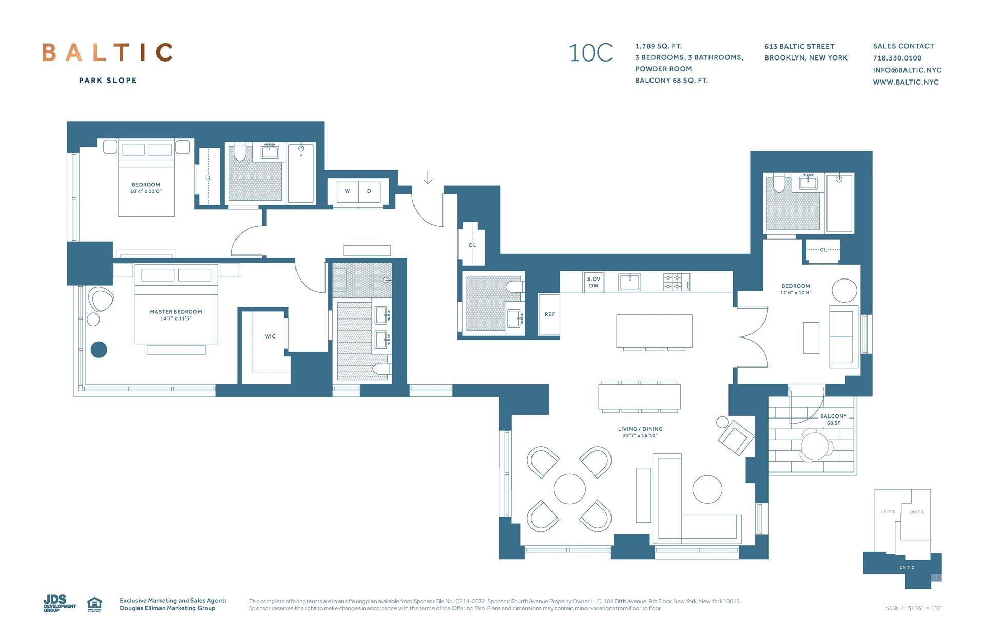 Floor plan of 613 Baltic St, 10C - Park Slope, New York