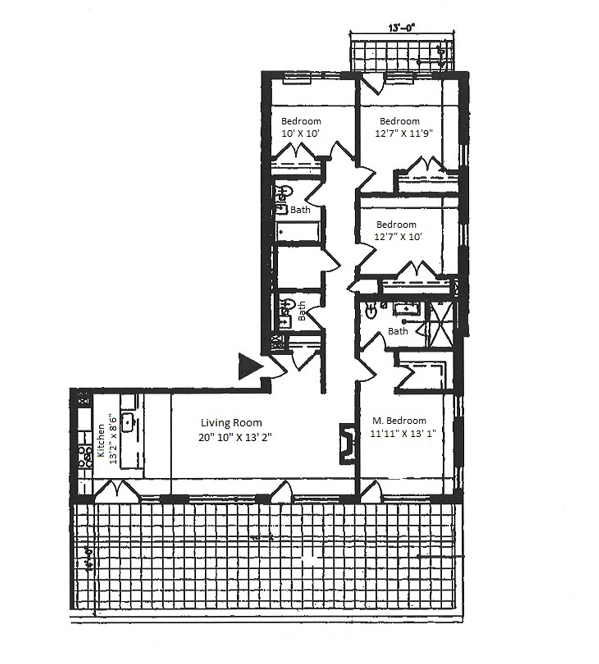 Floor plan of 154 Attorney Street, 701 - Lower East Side, New York