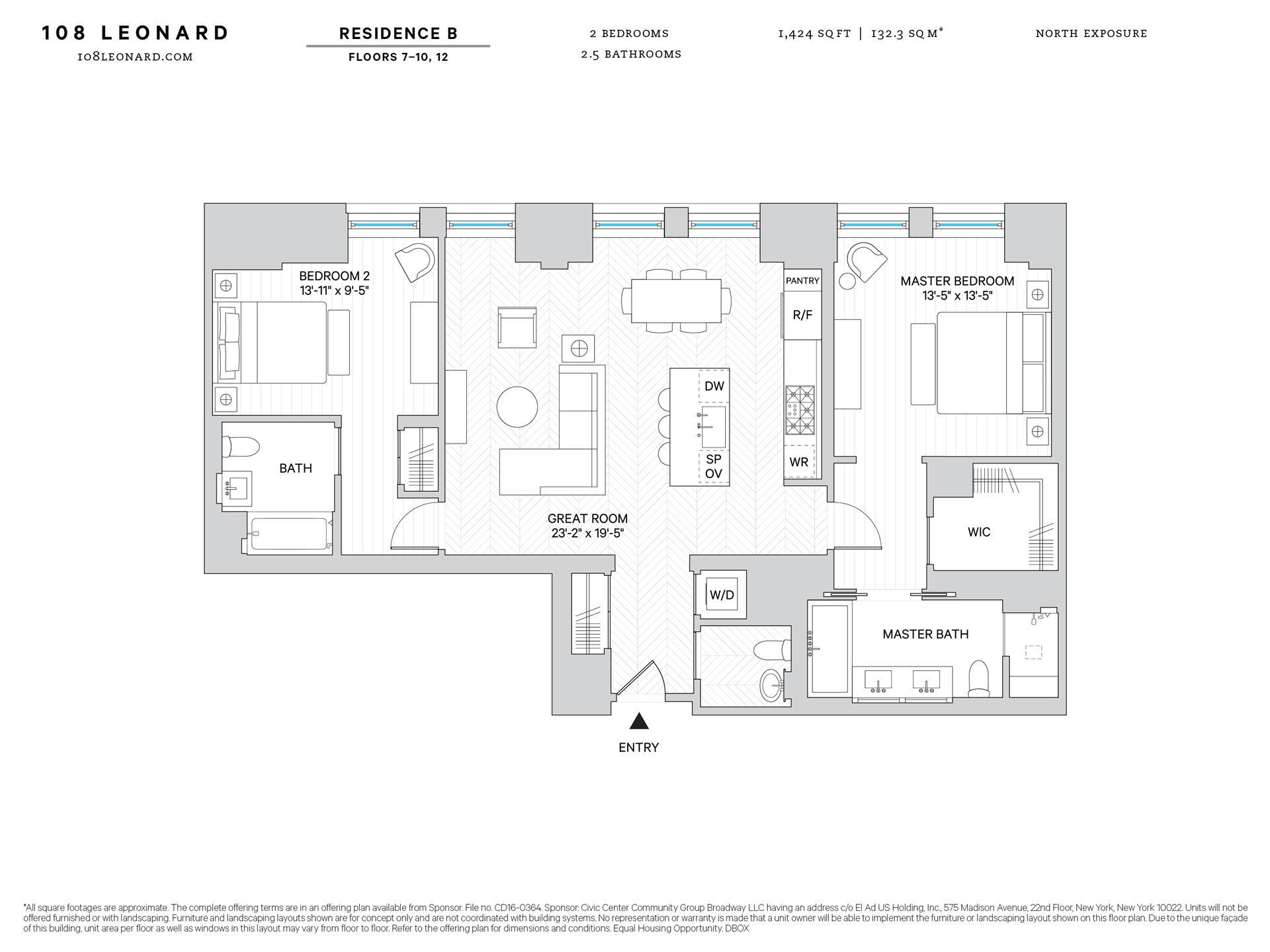 Floor plan of 108 Leonard St, 8B - TriBeCa, New York