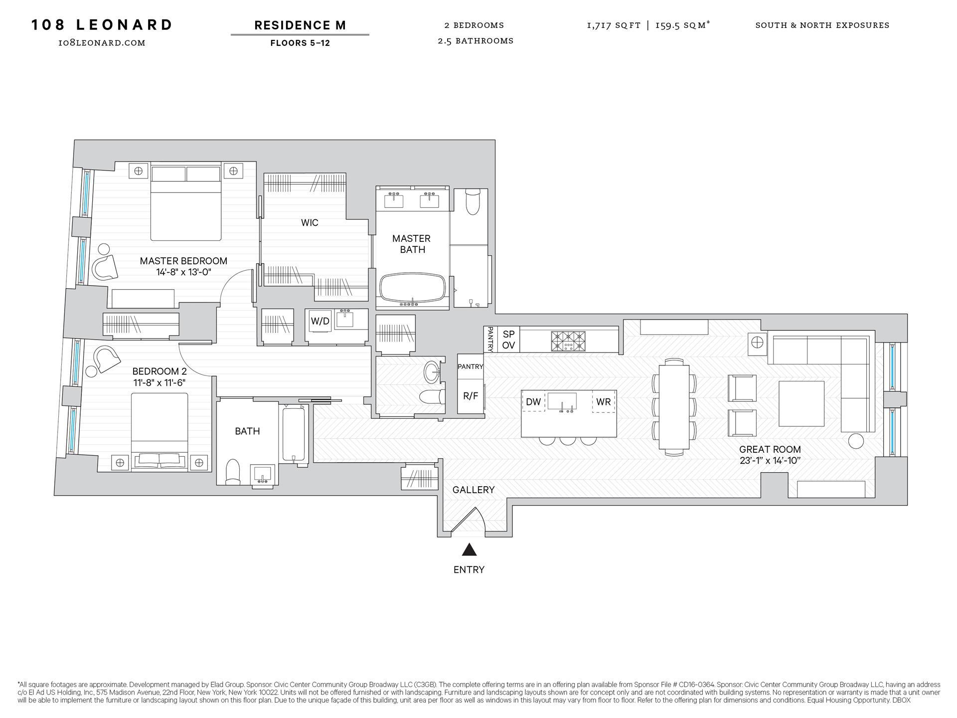 Floor plan of 108 Leonard St, 5M - TriBeCa, New York