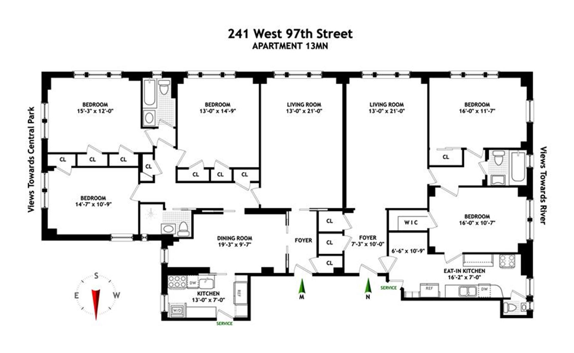 Floor plan of The Sabrina, 241 West 97th St, 13MN - Upper West Side, New York