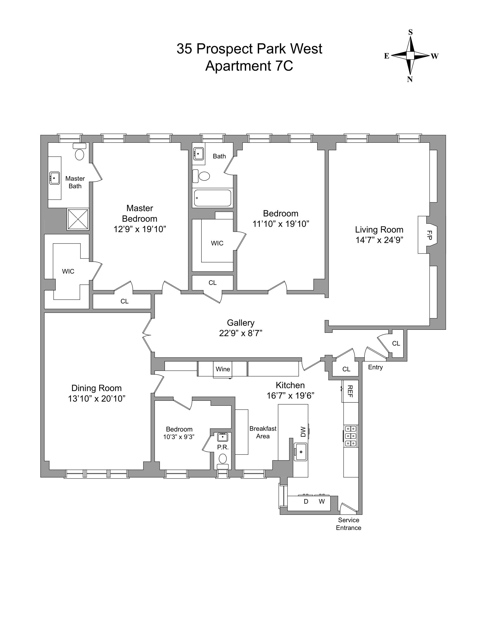 Floor plan of 35 Prospect Park West, 7C - Park Slope, New York