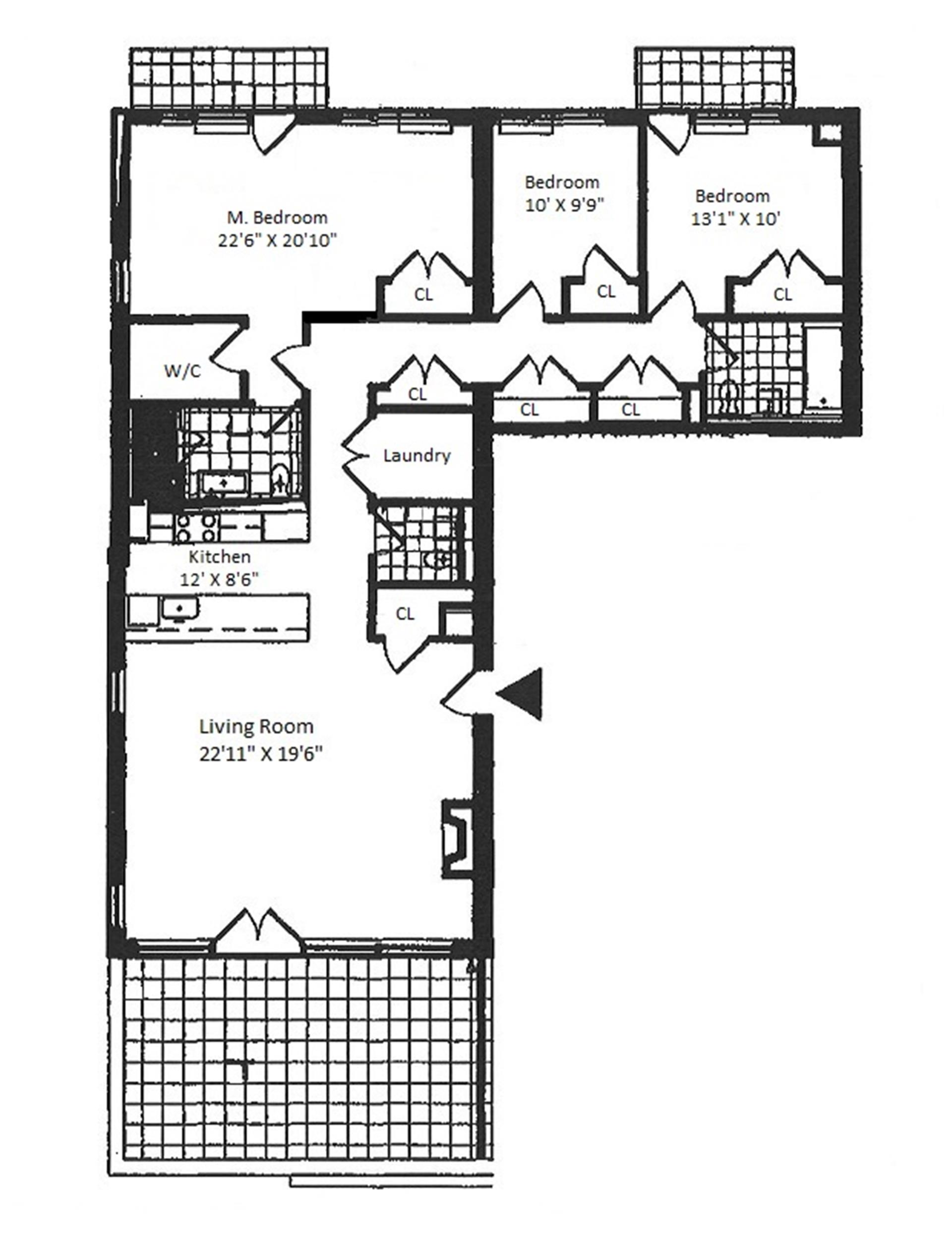 Floor plan of 154 Attorney St, 701/702 - Lower East Side, New York