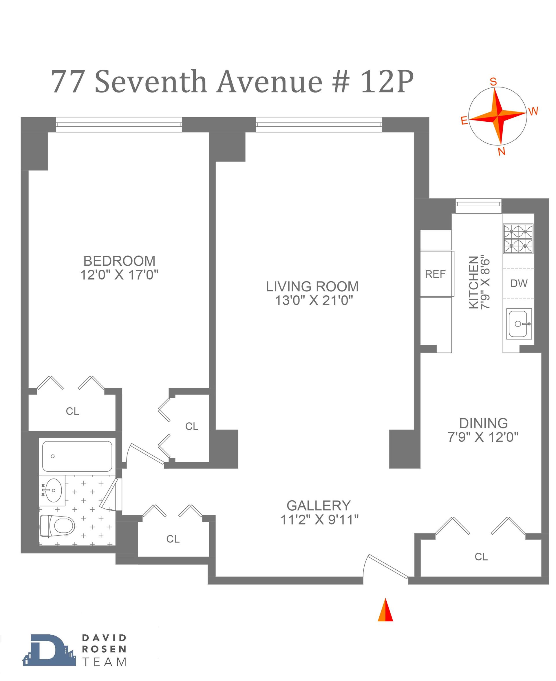 Floor plan of THE VERMEER, 77 Seventh Avenue, 12P - Chelsea, New York