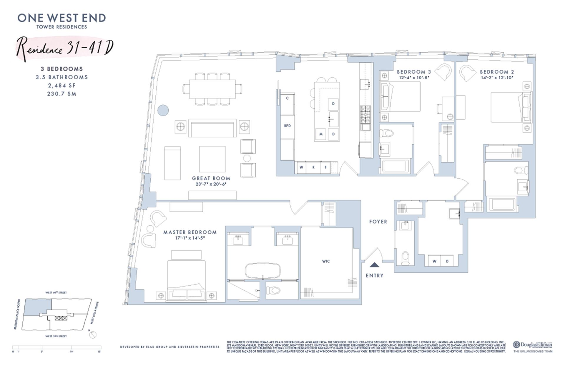 Floor plan of One West End, 1 West End Avenue, 39D - Upper West Side, New York
