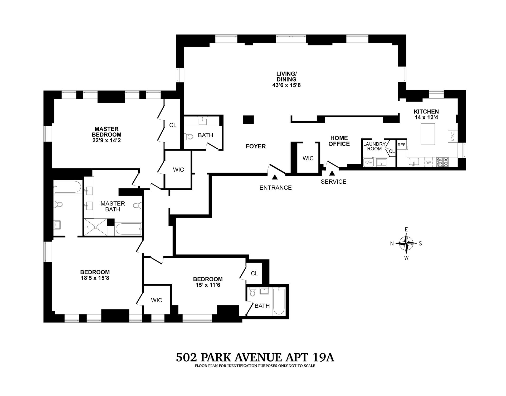Floor plan of TRUMP PARK AVENUE, 502 Park Avenue, 19A - Upper East Side, New York
