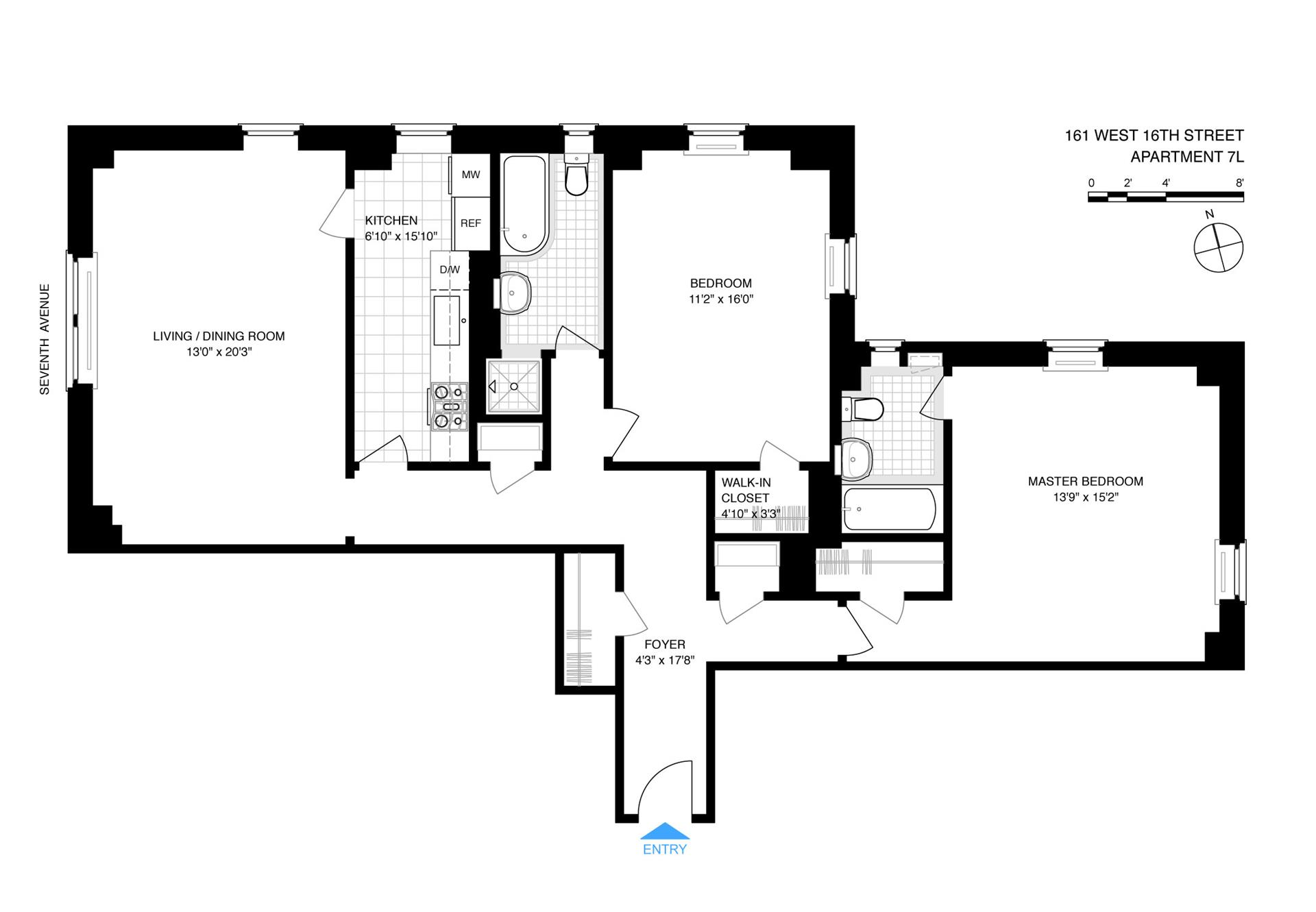 Floor plan of 161 West 16th St, 7L - Chelsea, New York
