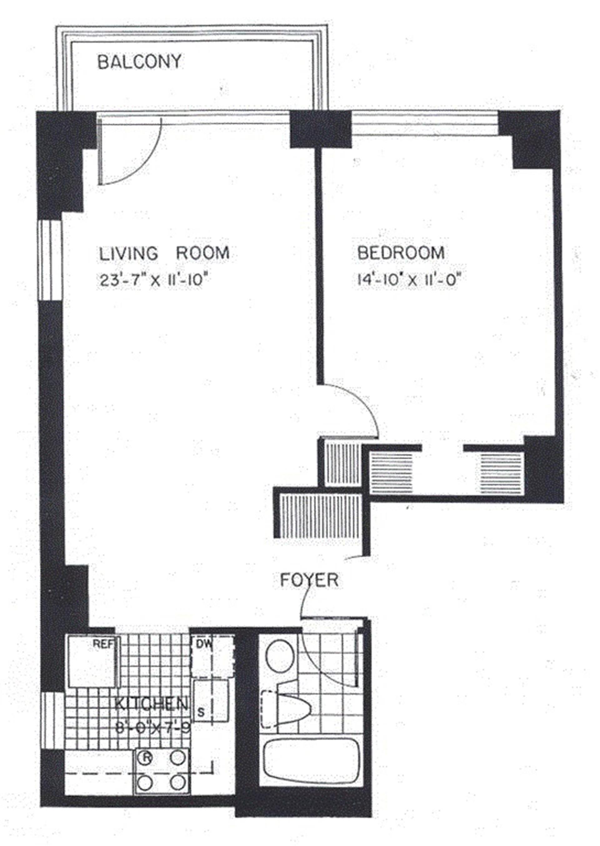 Floor plan of The Club at Turtle Bay, 236 East 47th St, 23B - Turtle Bay, New York
