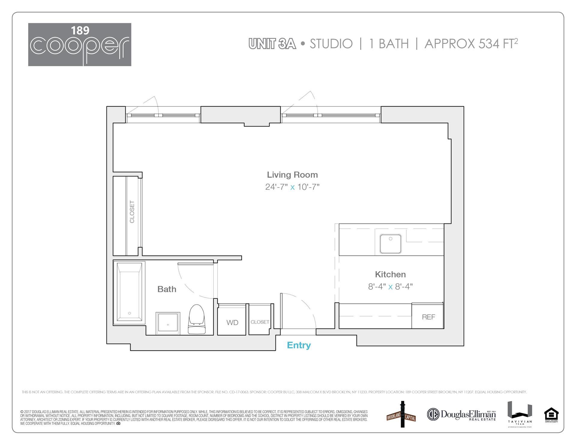 Floor plan of 189 Cooper St, 3A - Bushwick, New York