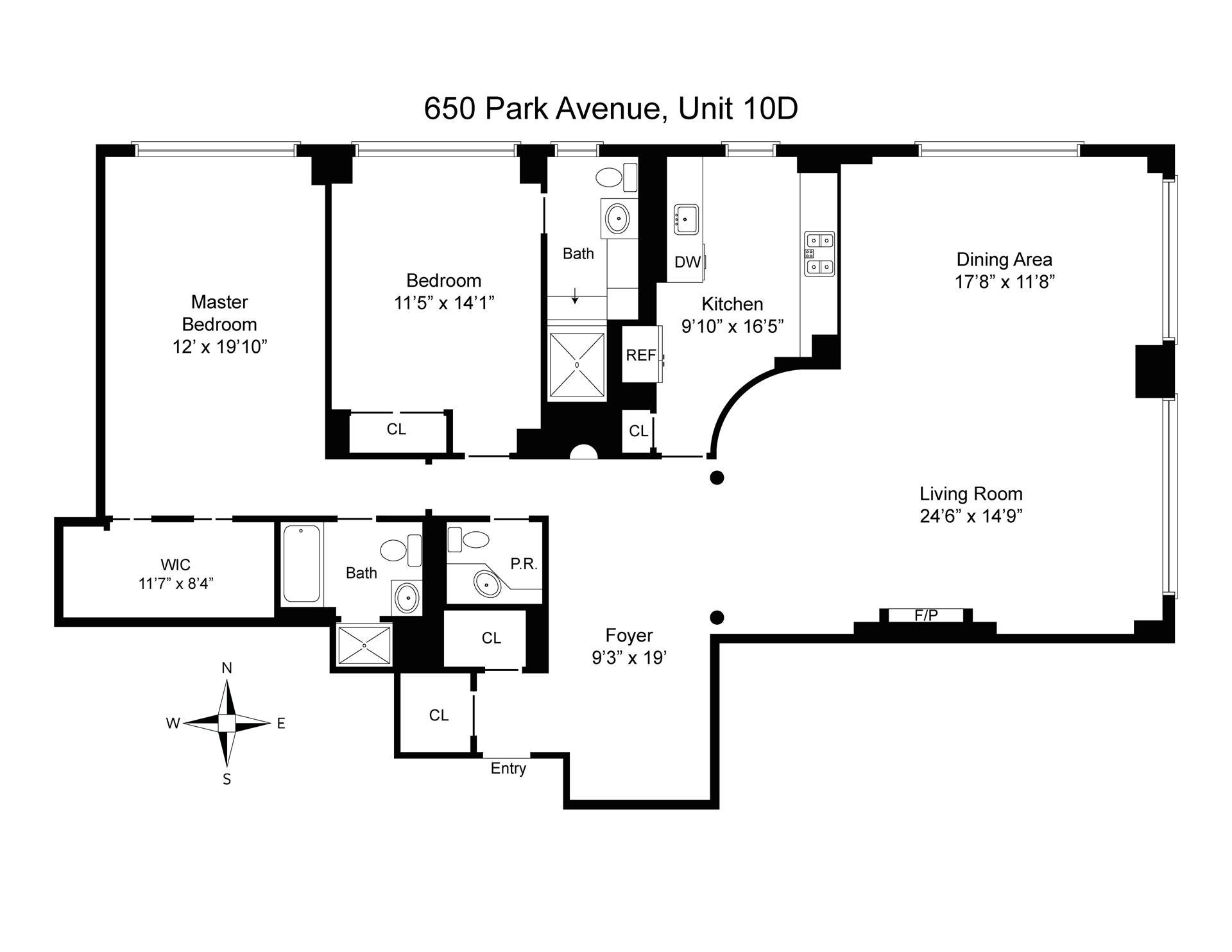 Floor plan of 650 Park Avenue, 10D - Upper East Side, New York
